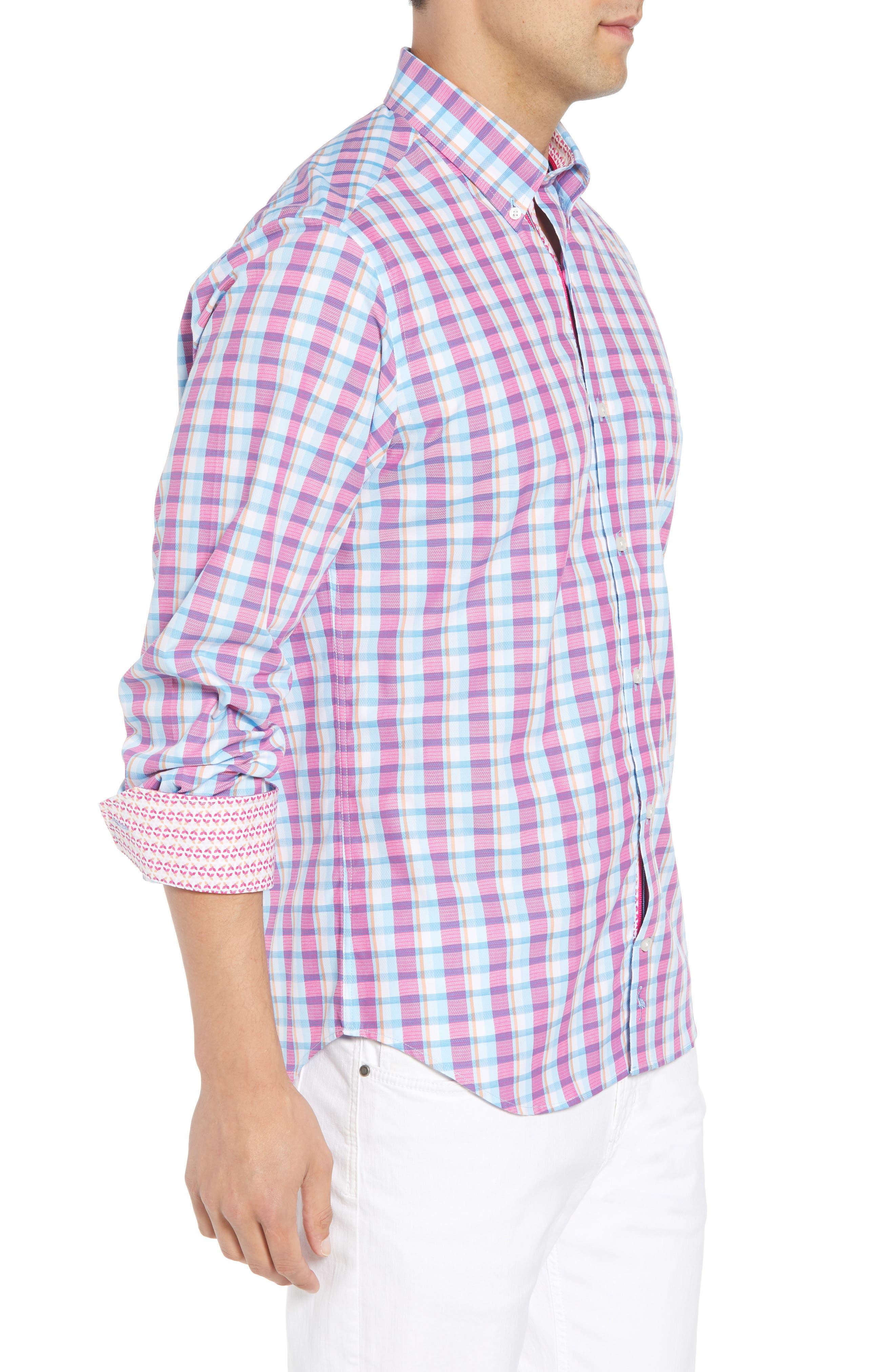 Leith Regular Fit Check Sport Shirt,                             Alternate thumbnail 3, color,                             439