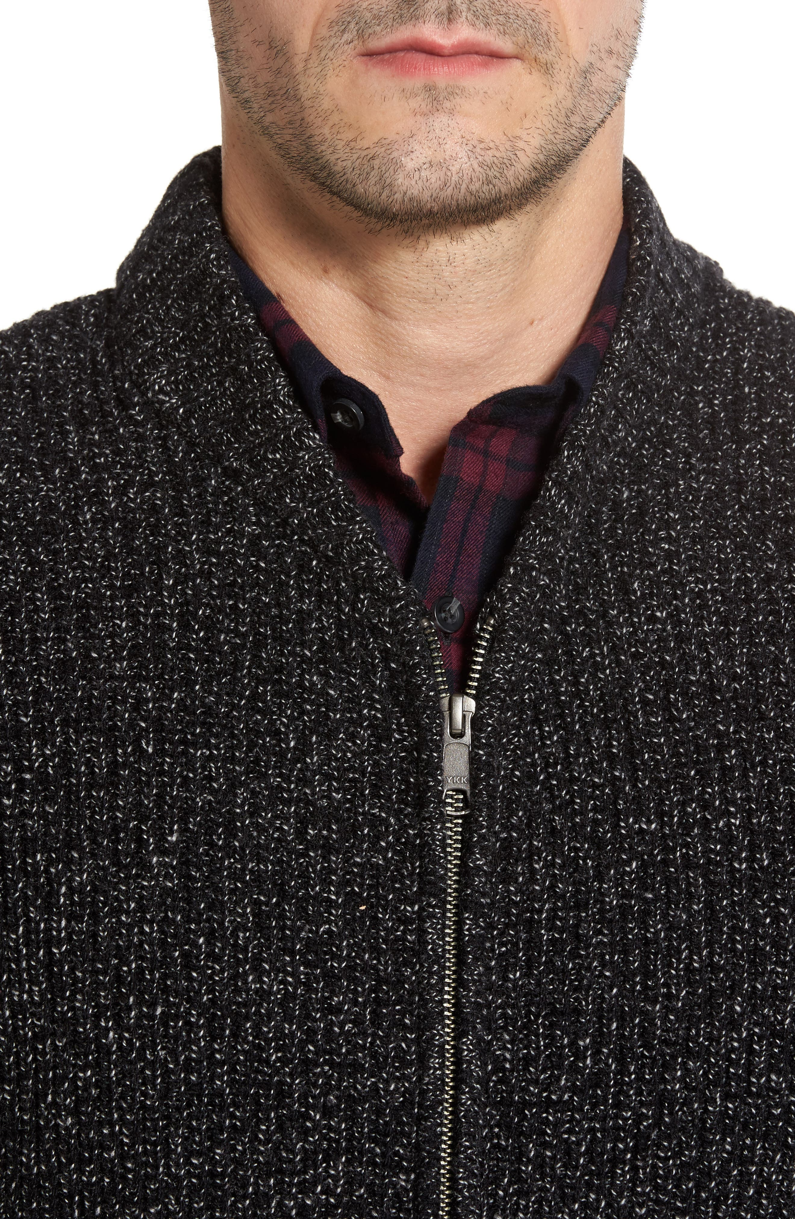 Zip Front Cardigan,                             Alternate thumbnail 4, color,                             001