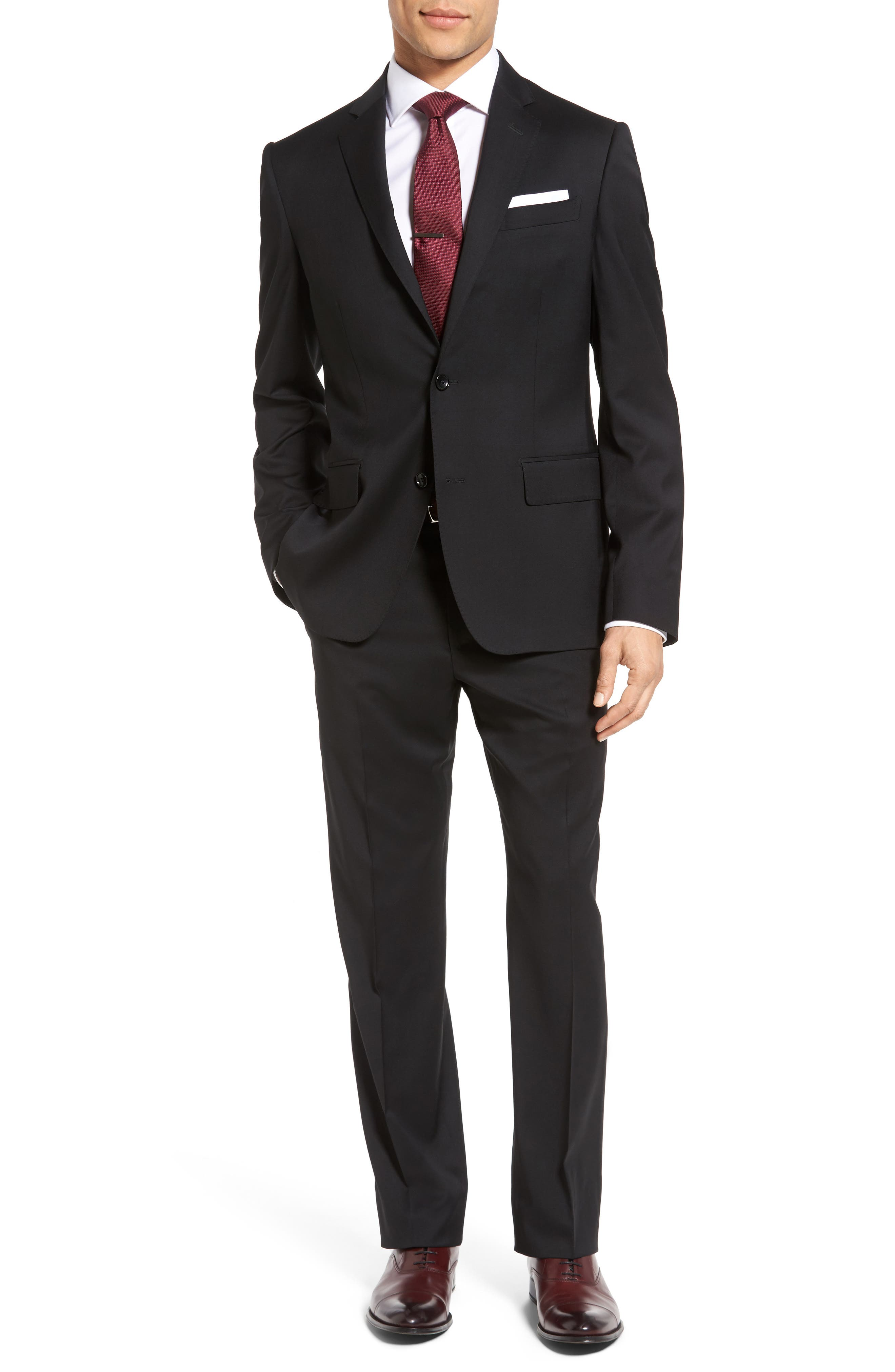 Classic Fit Solid Wool Suit,                         Main,                         color, 001