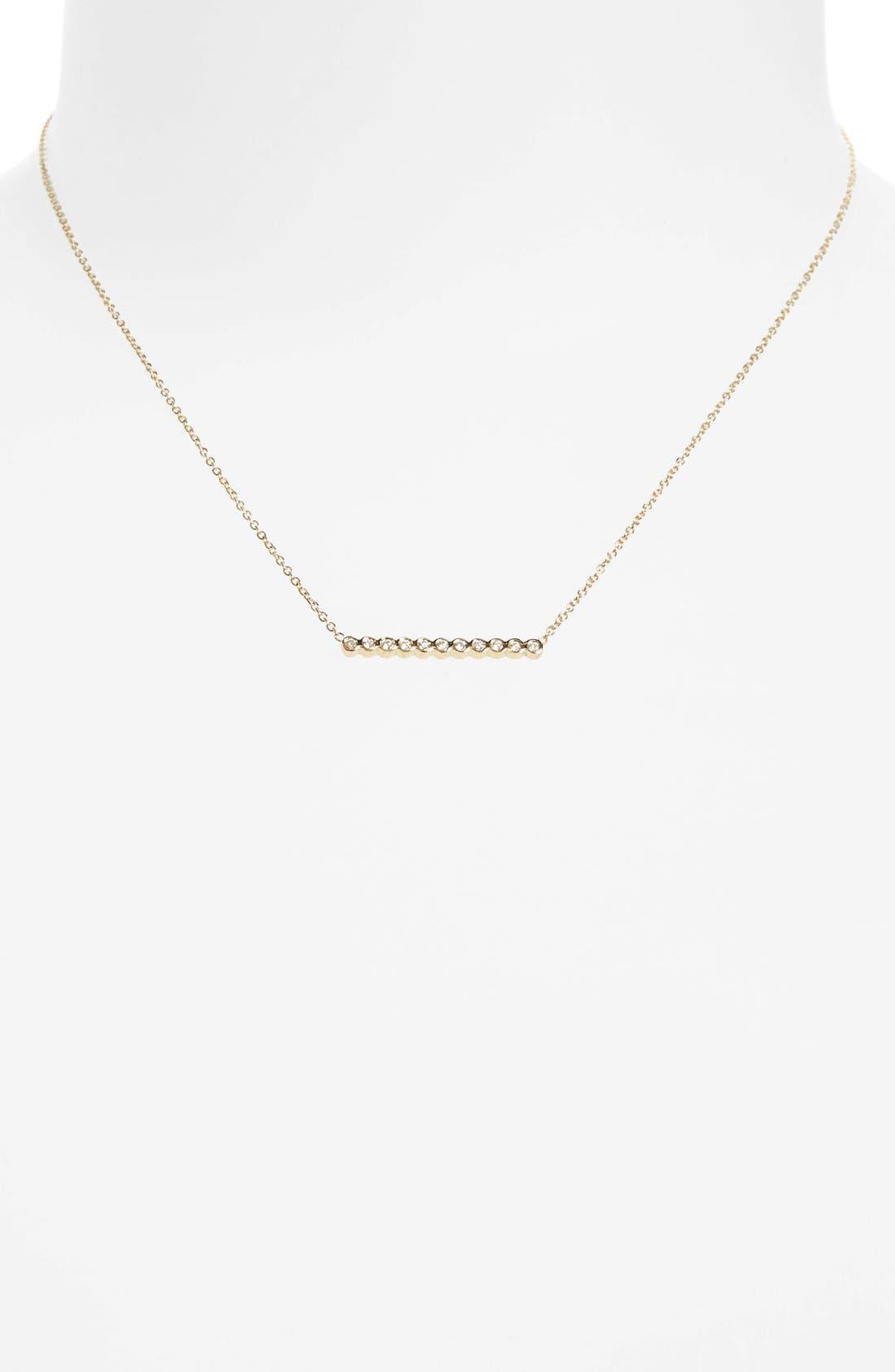 Diamond Bar Pendant Necklace,                             Alternate thumbnail 4, color,                             YELLOW GOLD