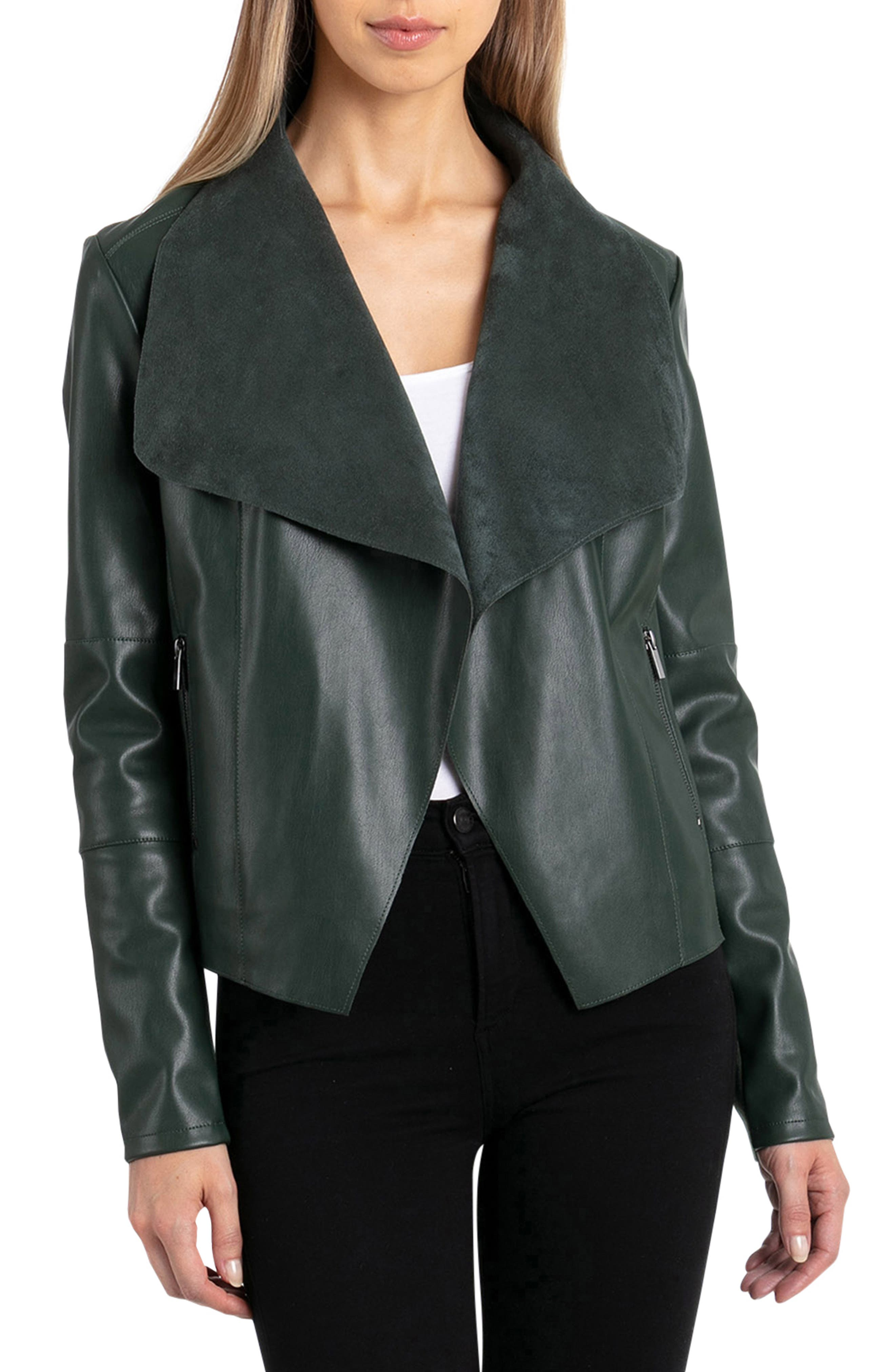 Drape Faux Leather & Faux Suede Jacket,                             Main thumbnail 1, color,                             EMERALD
