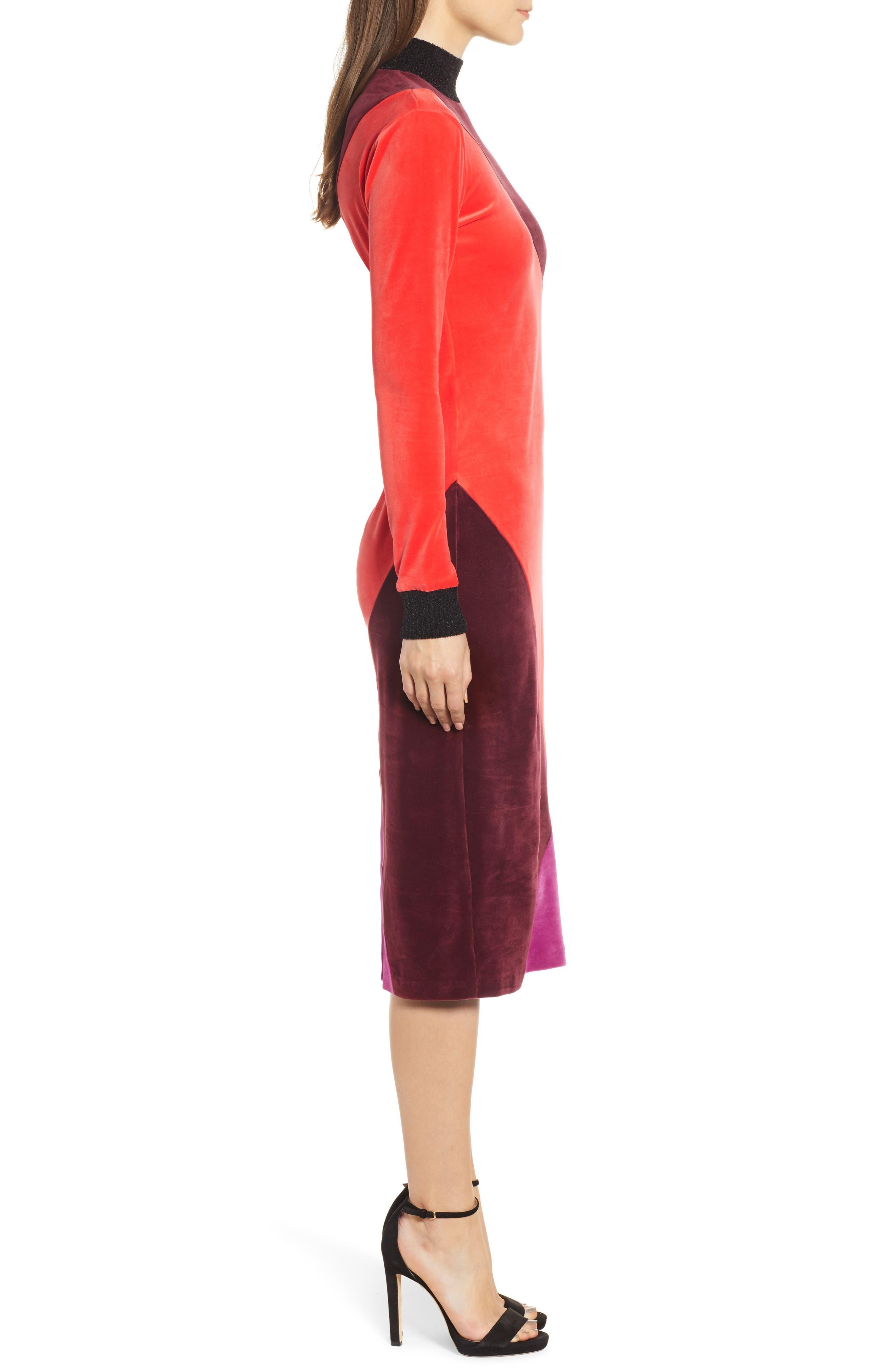 Velluto Velour Midi Dress,                             Alternate thumbnail 3, color,                             BORGOGNA
