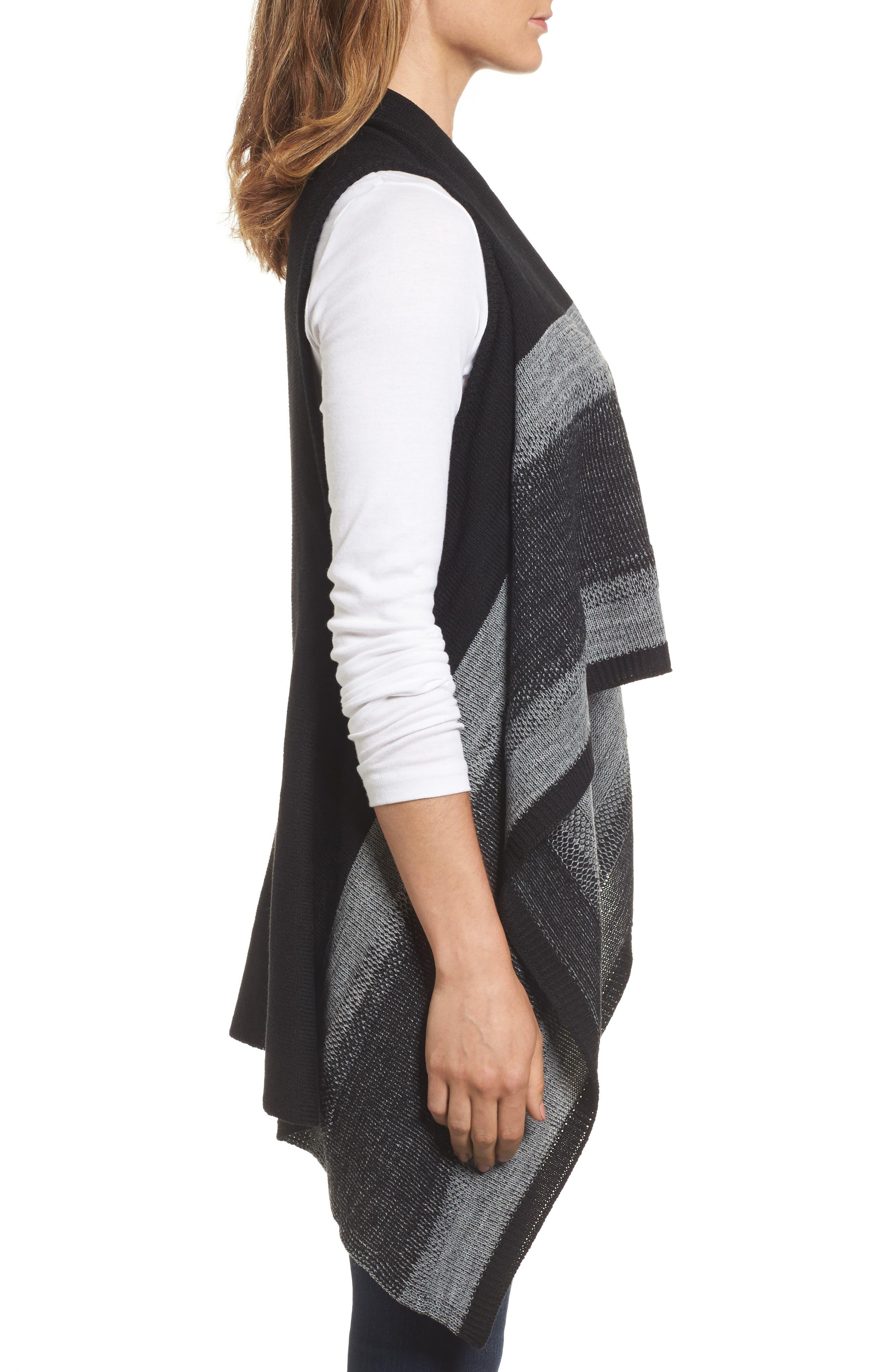 Faded Stripes Knit Vest,                             Alternate thumbnail 3, color,                             001