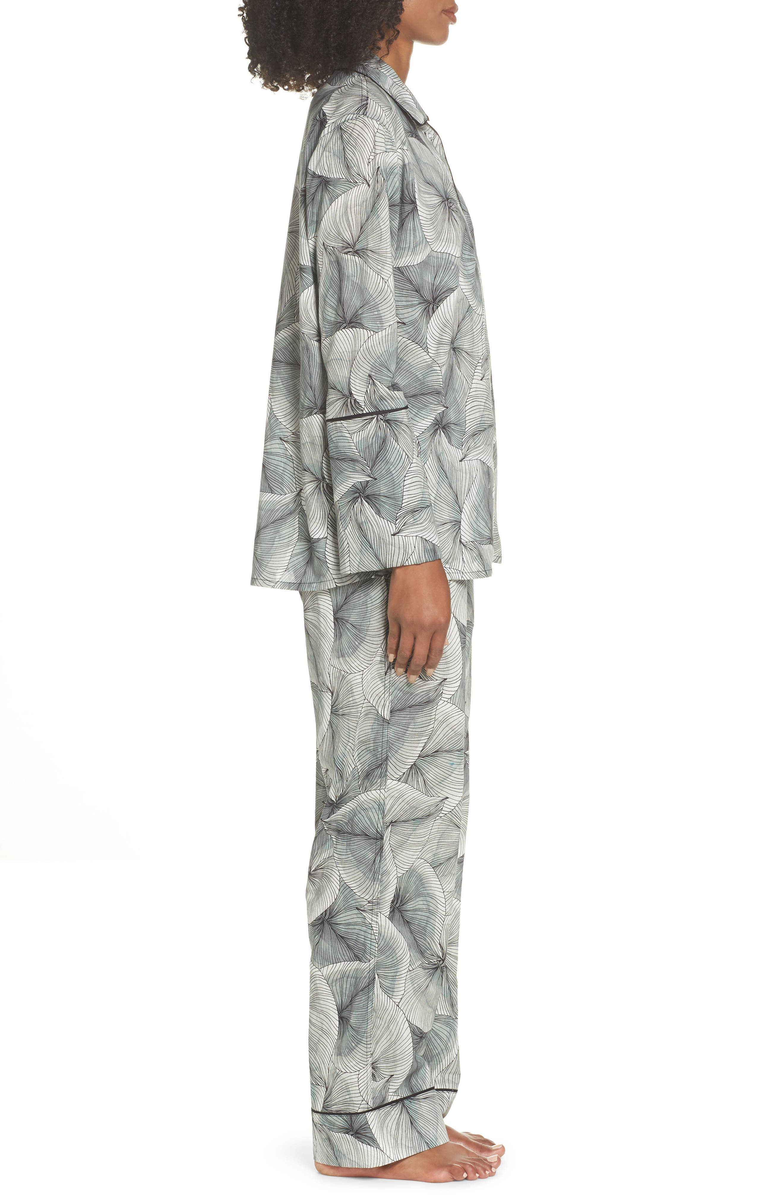 Cotton Voile Pajamas,                             Alternate thumbnail 3, color,                             LEAF PRINT