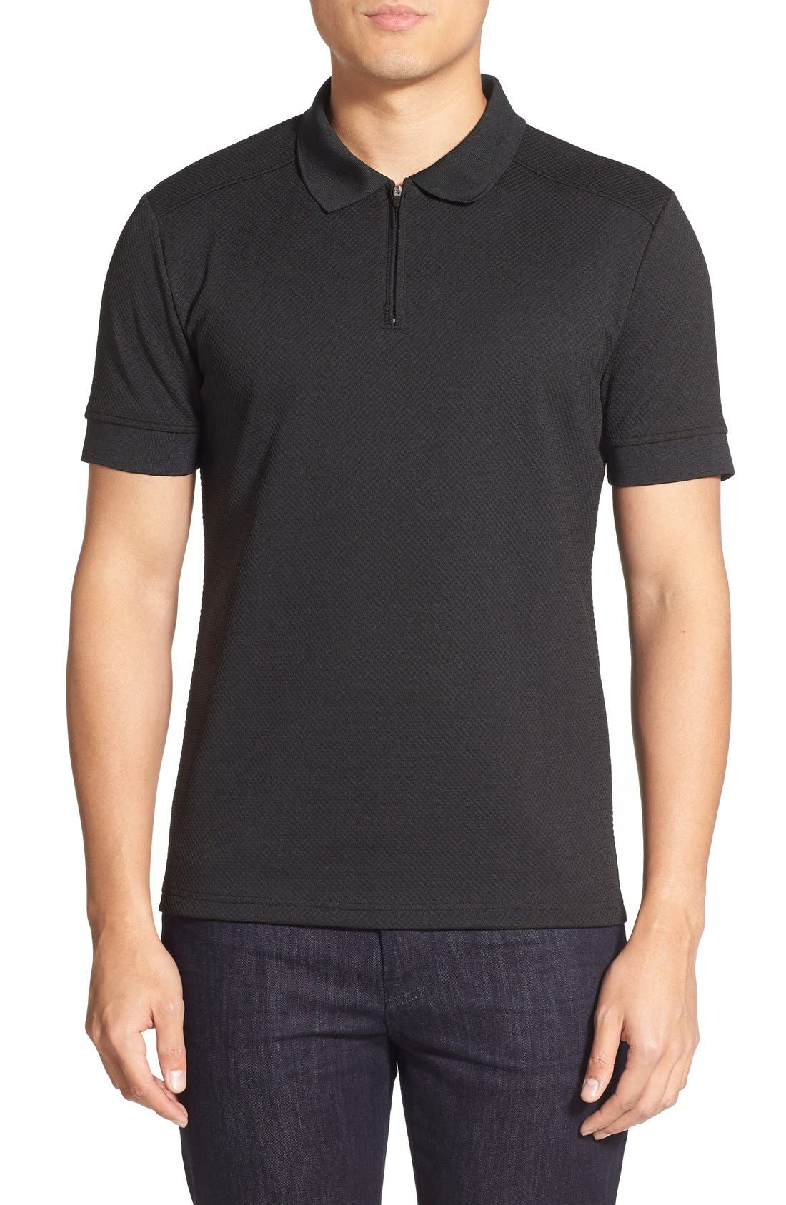 Slim Fit Mesh Polo,                         Main,                         color, BLACK