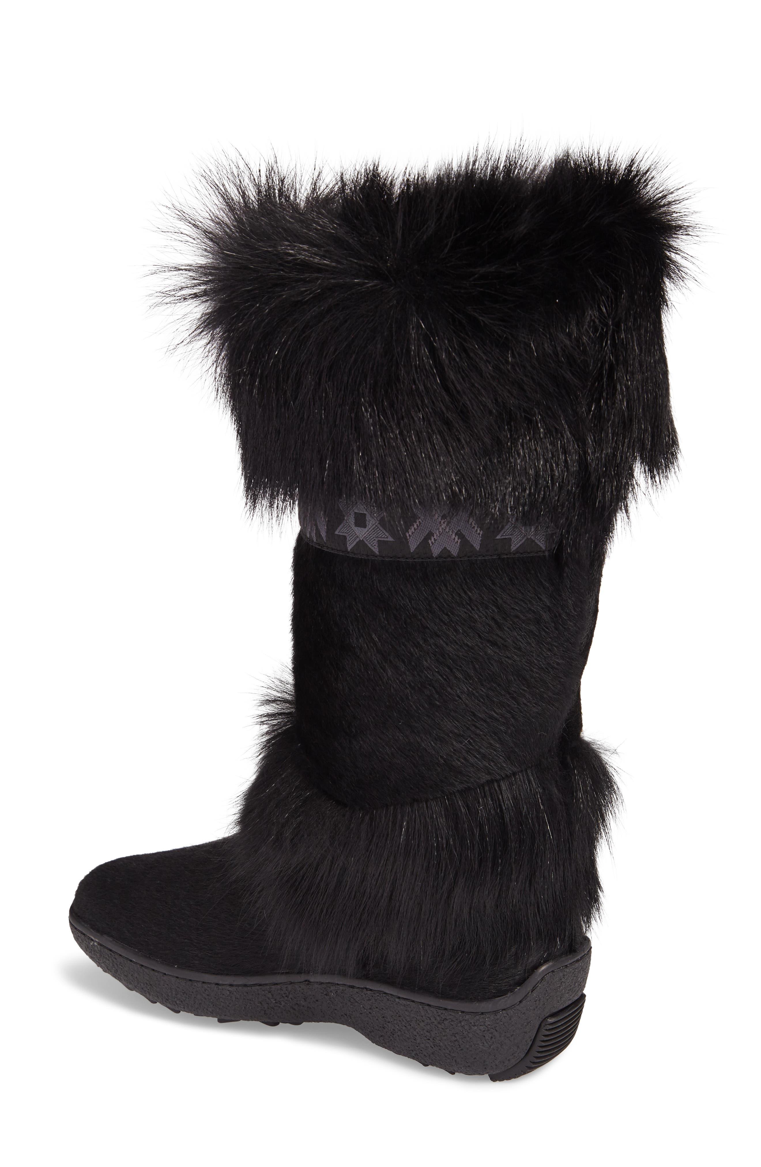 Laura Genuine Goat Fur Waterproof Boot,                             Alternate thumbnail 2, color,                             001