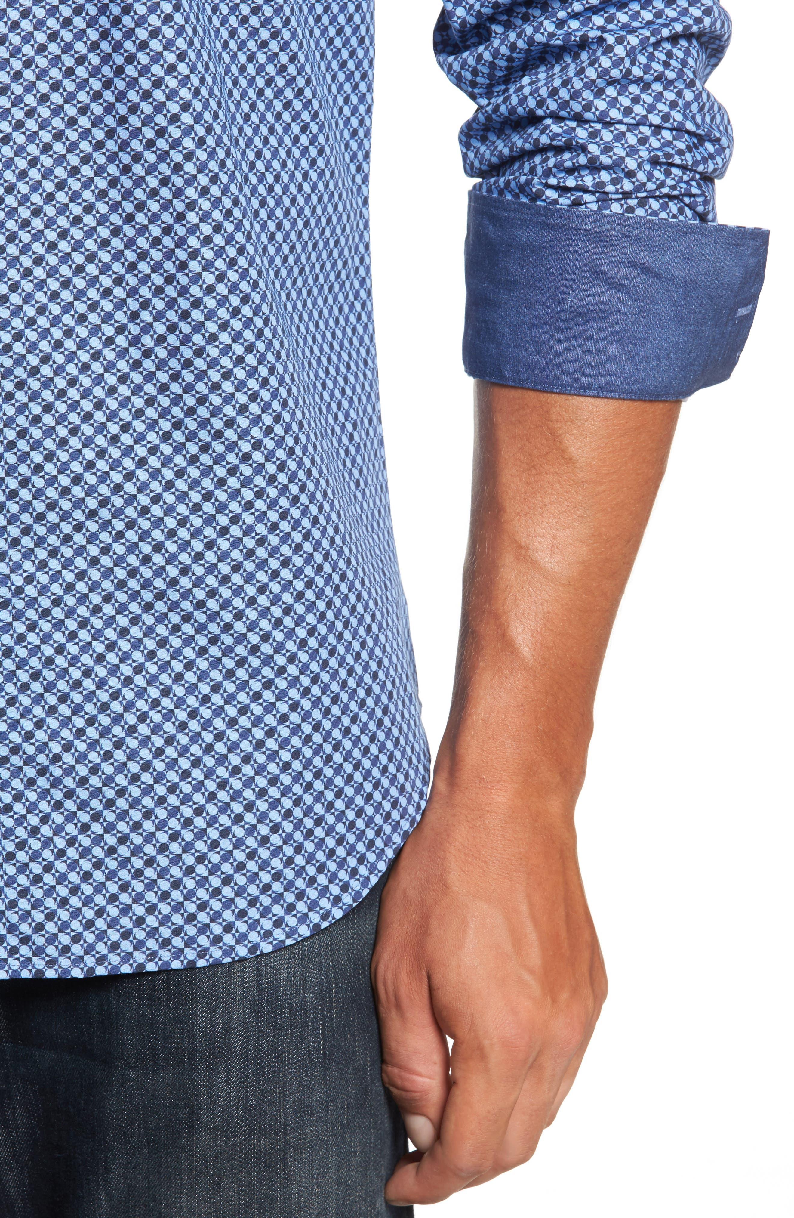 Trim Fit Dot Print Sport Shirt,                             Alternate thumbnail 4, color,
