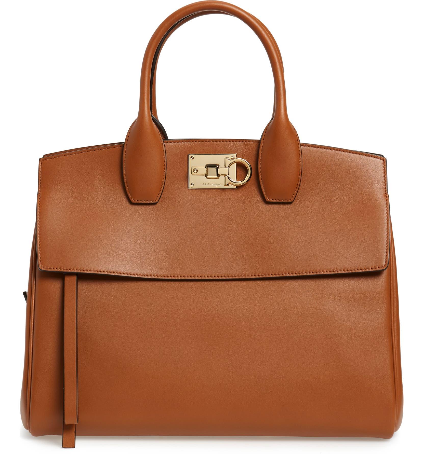 dd4fa9879394 Salvatore Ferragamo Medium The Studio Calfskin Leather Top Handle Bag