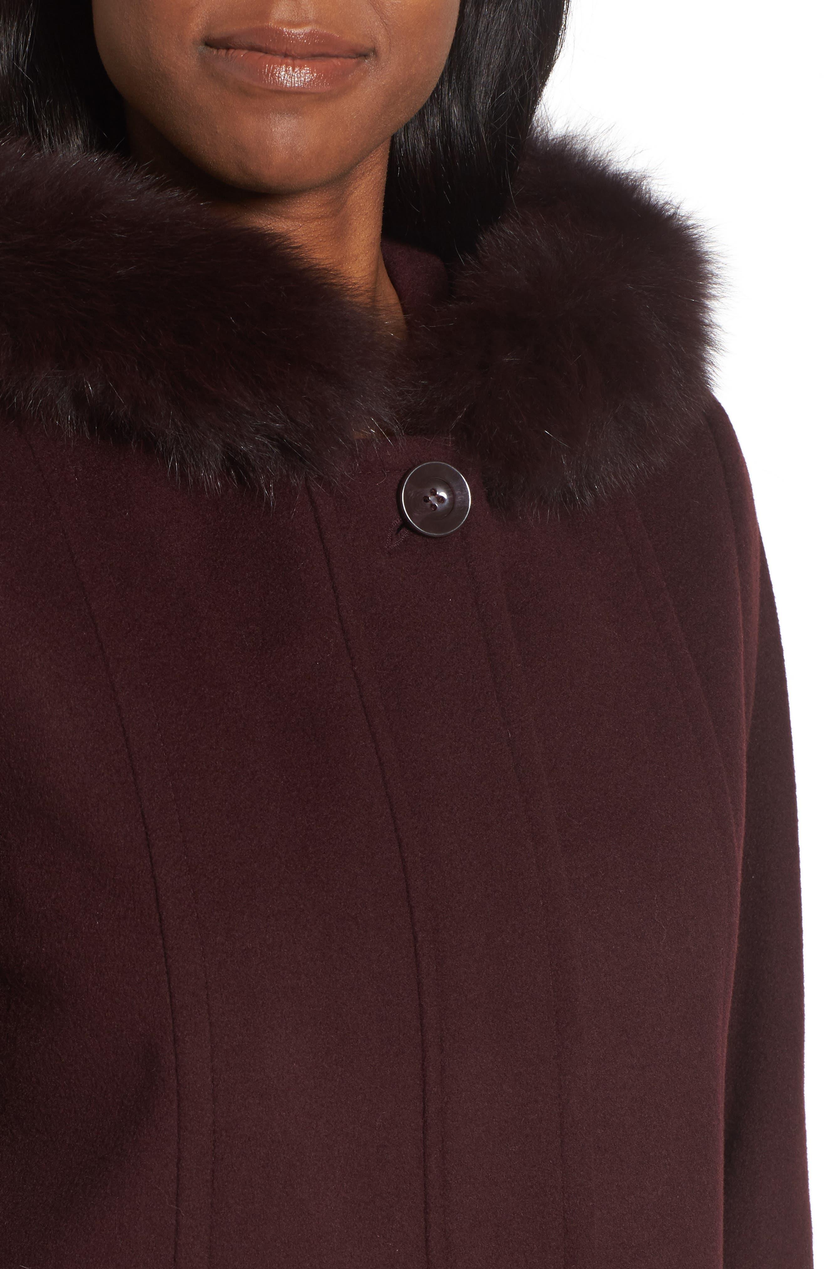 Hooded Wool Blend Coat with Genuine Fox Fur Trim,                             Alternate thumbnail 12, color,