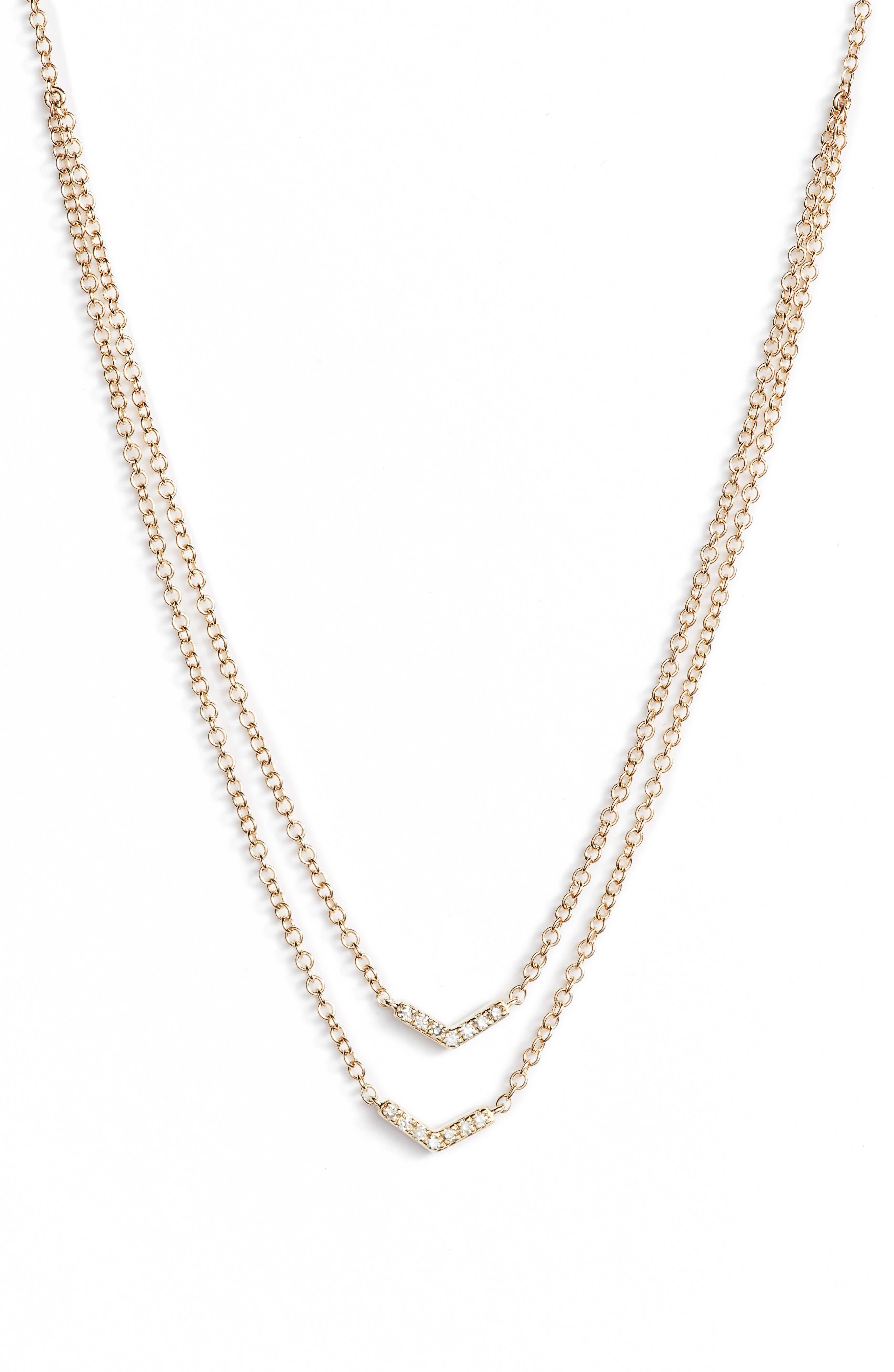 Double Row Chevron Diamond Necklace,                             Main thumbnail 1, color,                             YELLOW GOLD