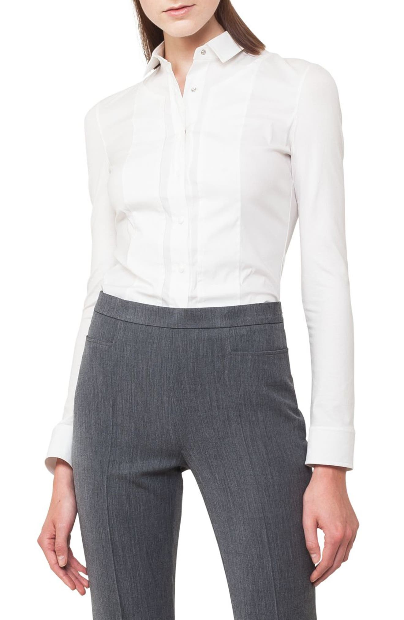 Kent Collar Poplin & Jersey Blouse,                         Main,                         color, 100