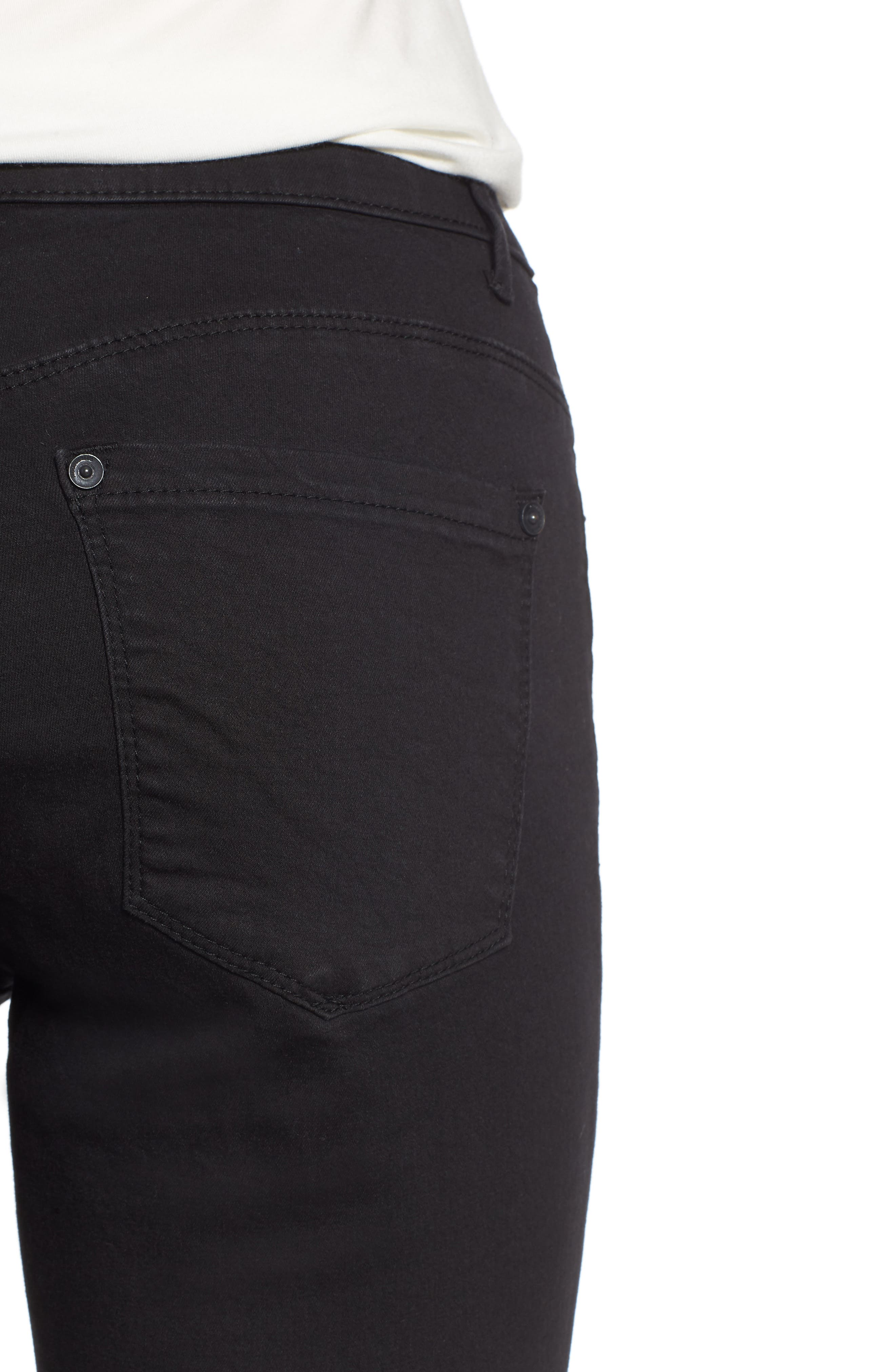 WIT & WISDOM, High Rise Ab-solution Skinny Jeans, Alternate thumbnail 5, color, BLACK