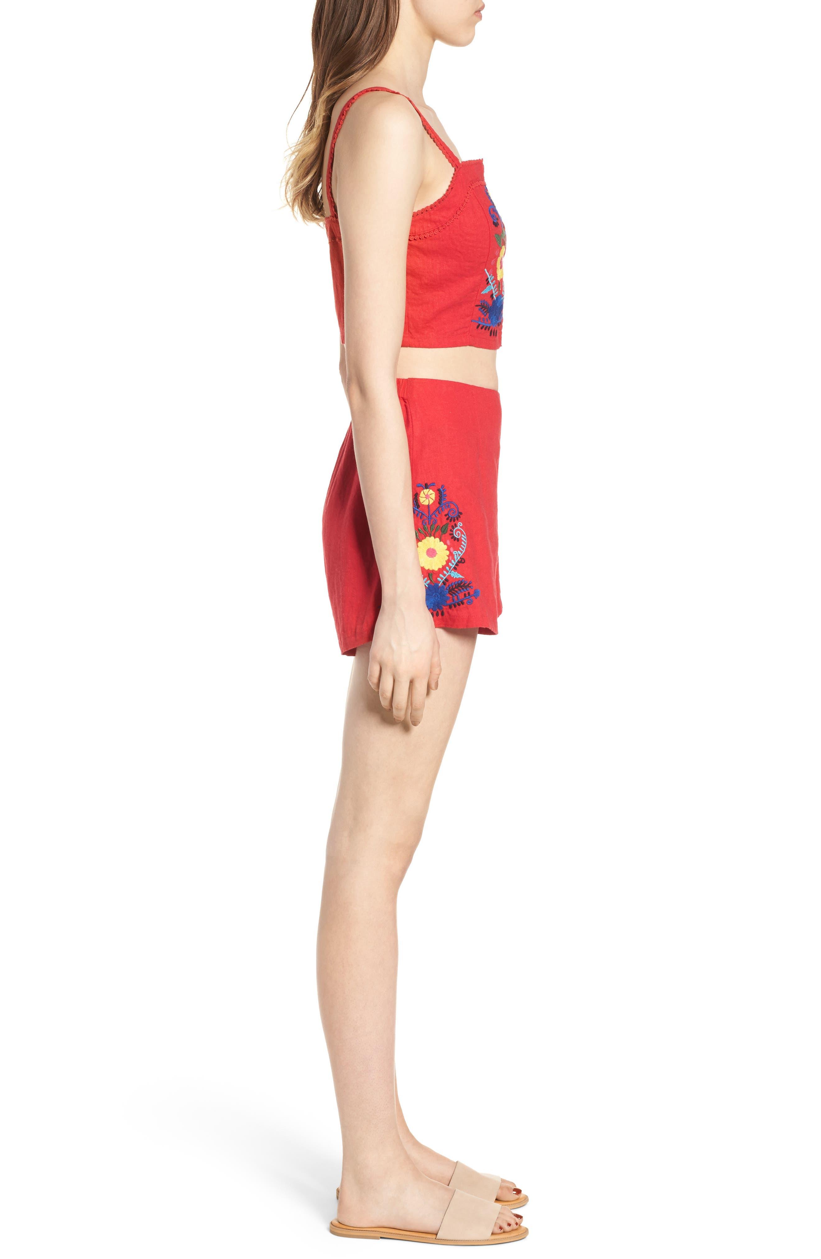 Embroidered Linen Blend Shorts,                             Alternate thumbnail 9, color,                             610