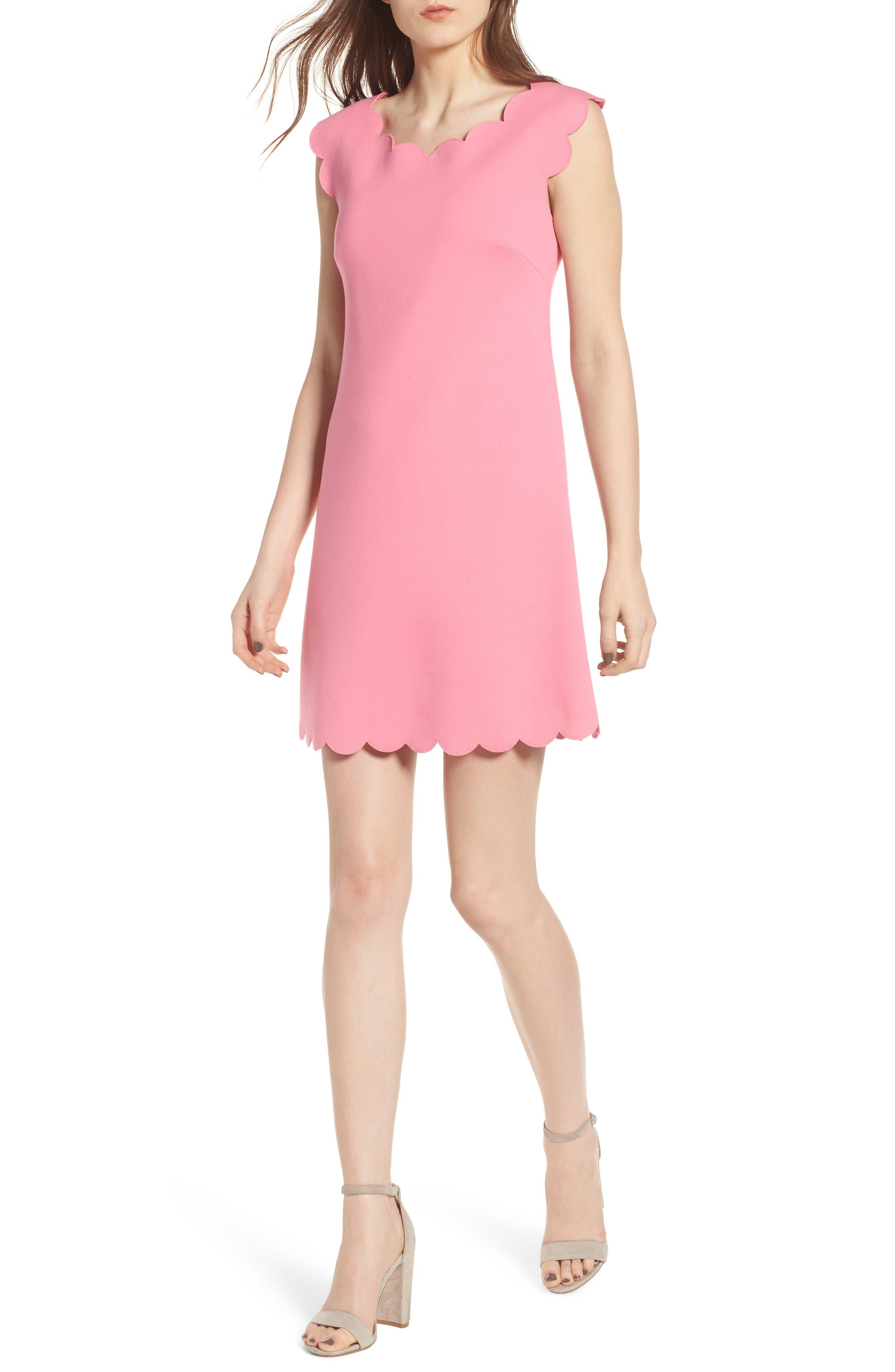 Petal Scalloped A-Line Dress,                             Alternate thumbnail 10, color,