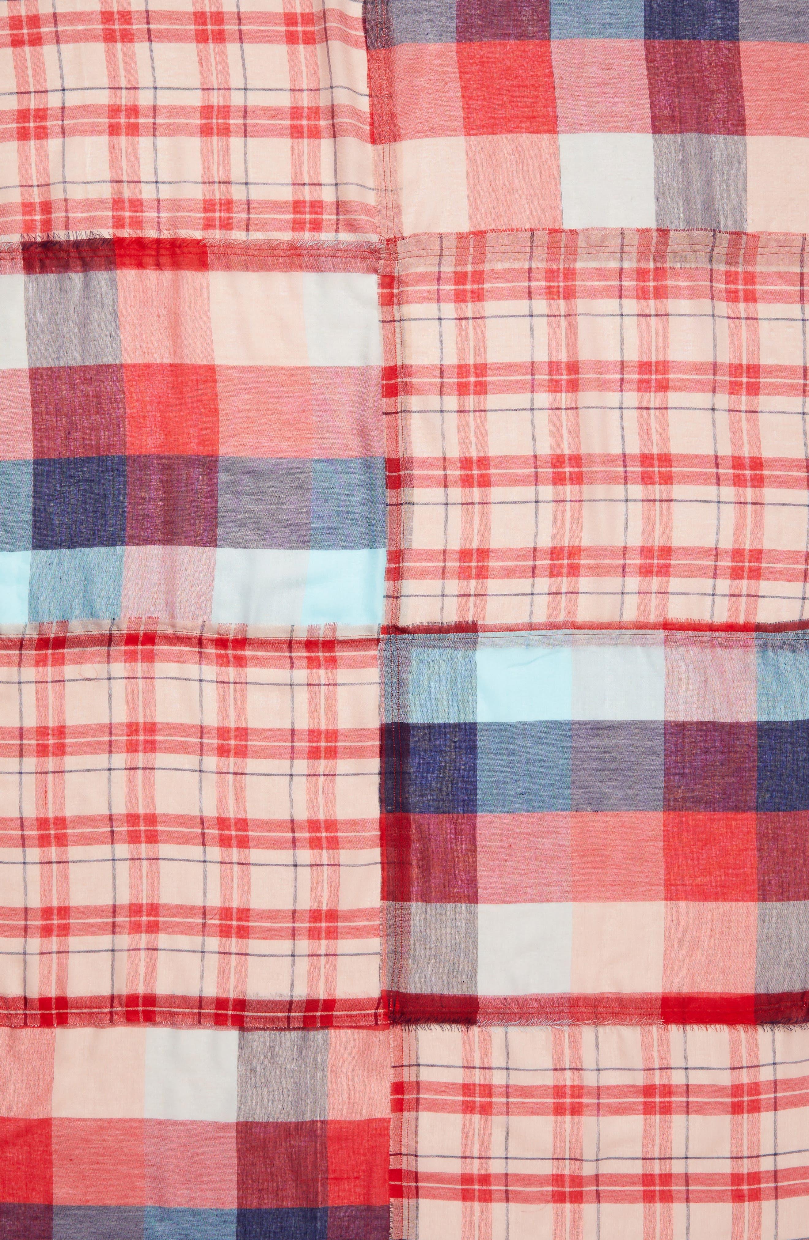 Stitch Patchwork Plaid Scarf,                             Alternate thumbnail 4, color,                             400
