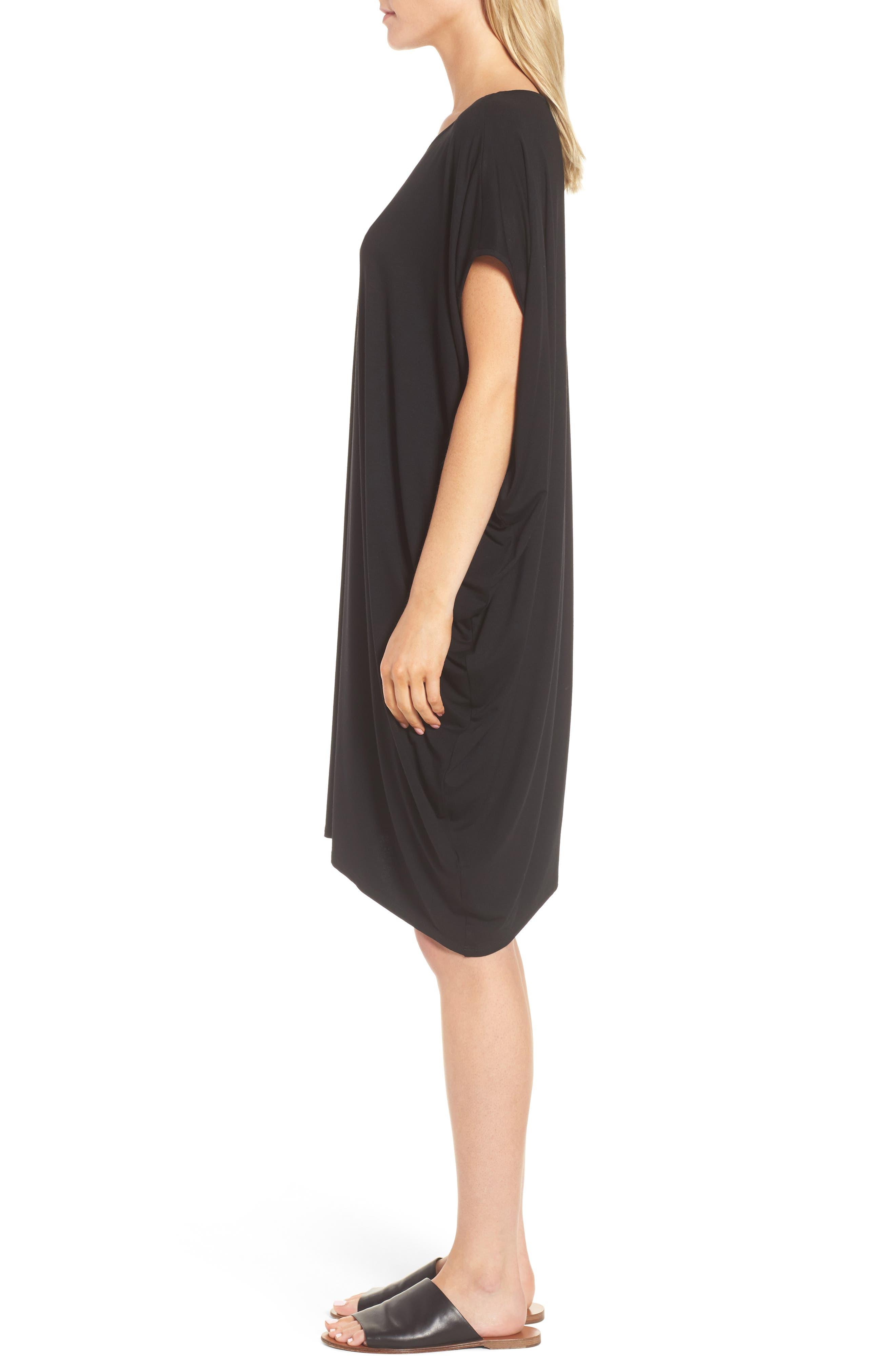 Asymmetrical Jersey Shift Dress,                             Alternate thumbnail 3, color,                             001
