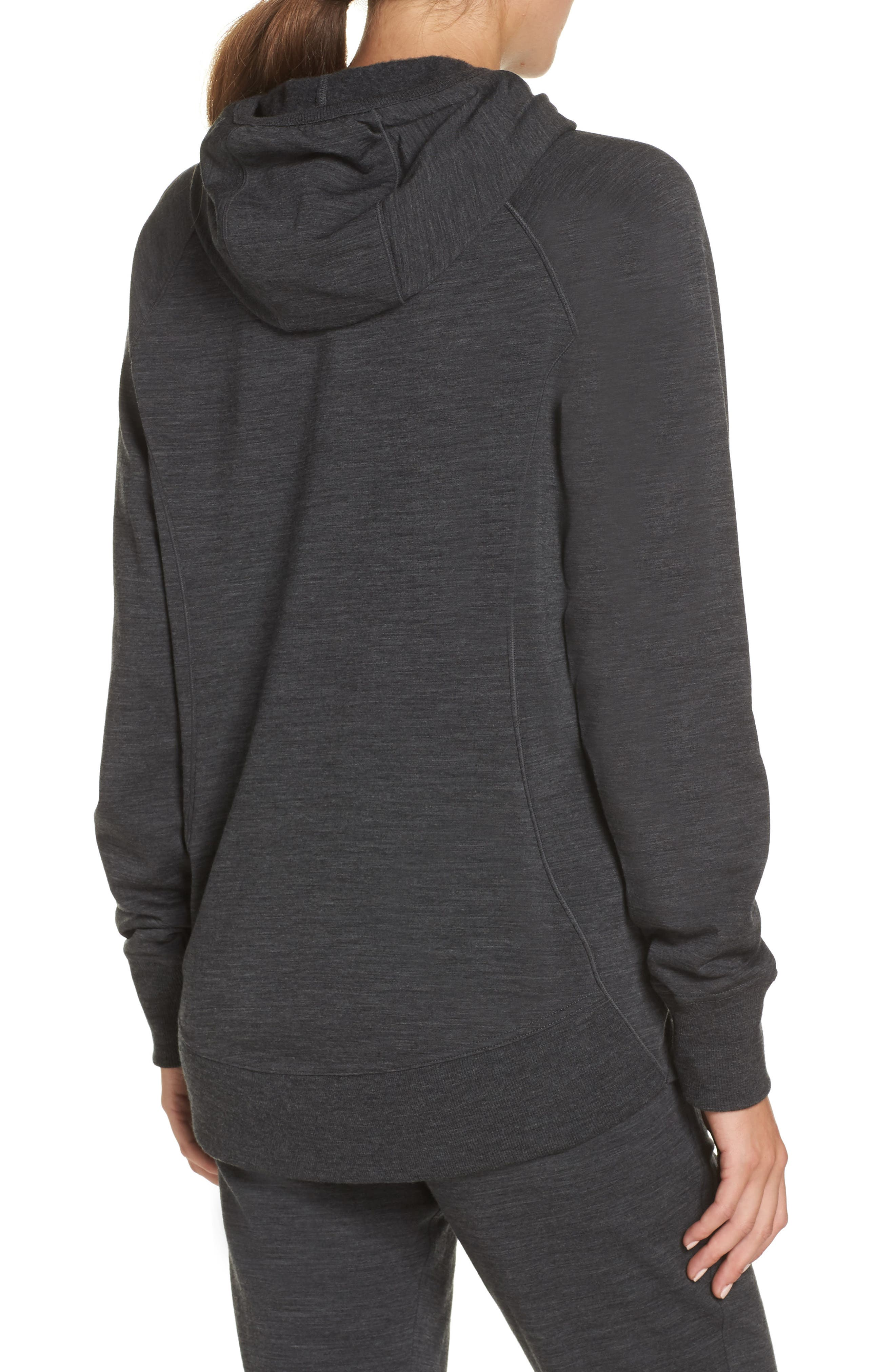 ICEBREAKER,                             Dia RealFLEECE<sup>®</sup> Pullover Hoodie,                             Alternate thumbnail 2, color,                             JET HEATHER