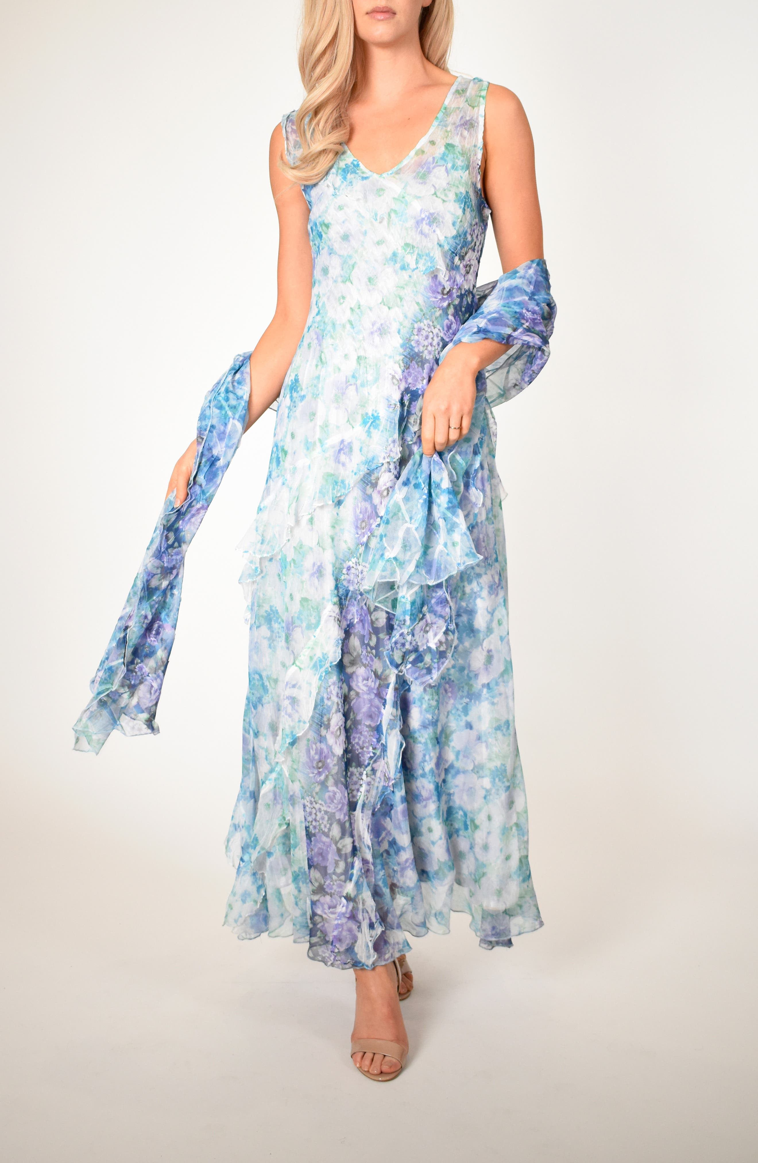 Petite Komarov Floral Side Ruffle Maxi Dress With Matching Shawl, Blue