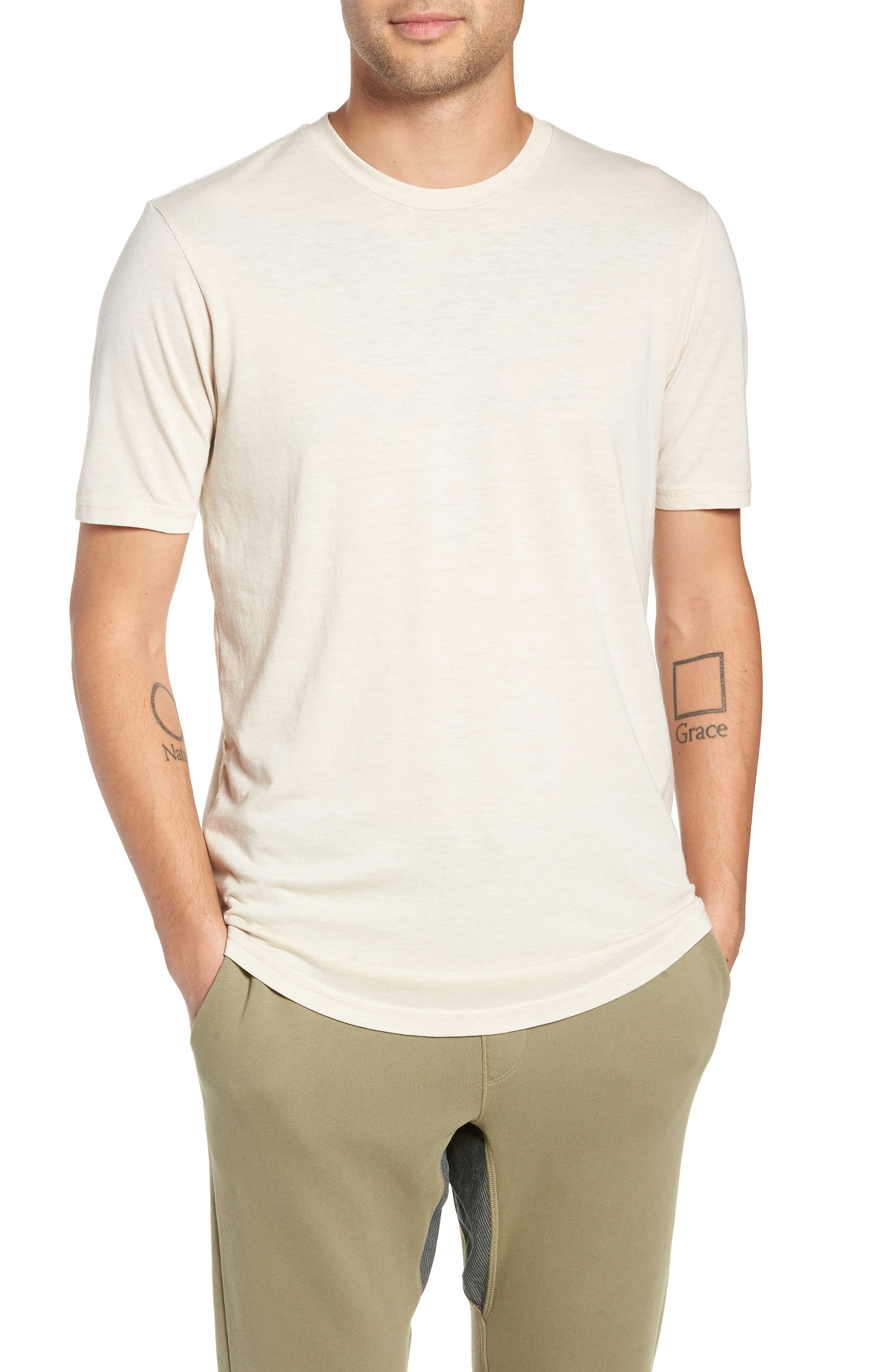 Scallop Triblend Crewneck T-Shirt,                         Main,                         color, OYSTER