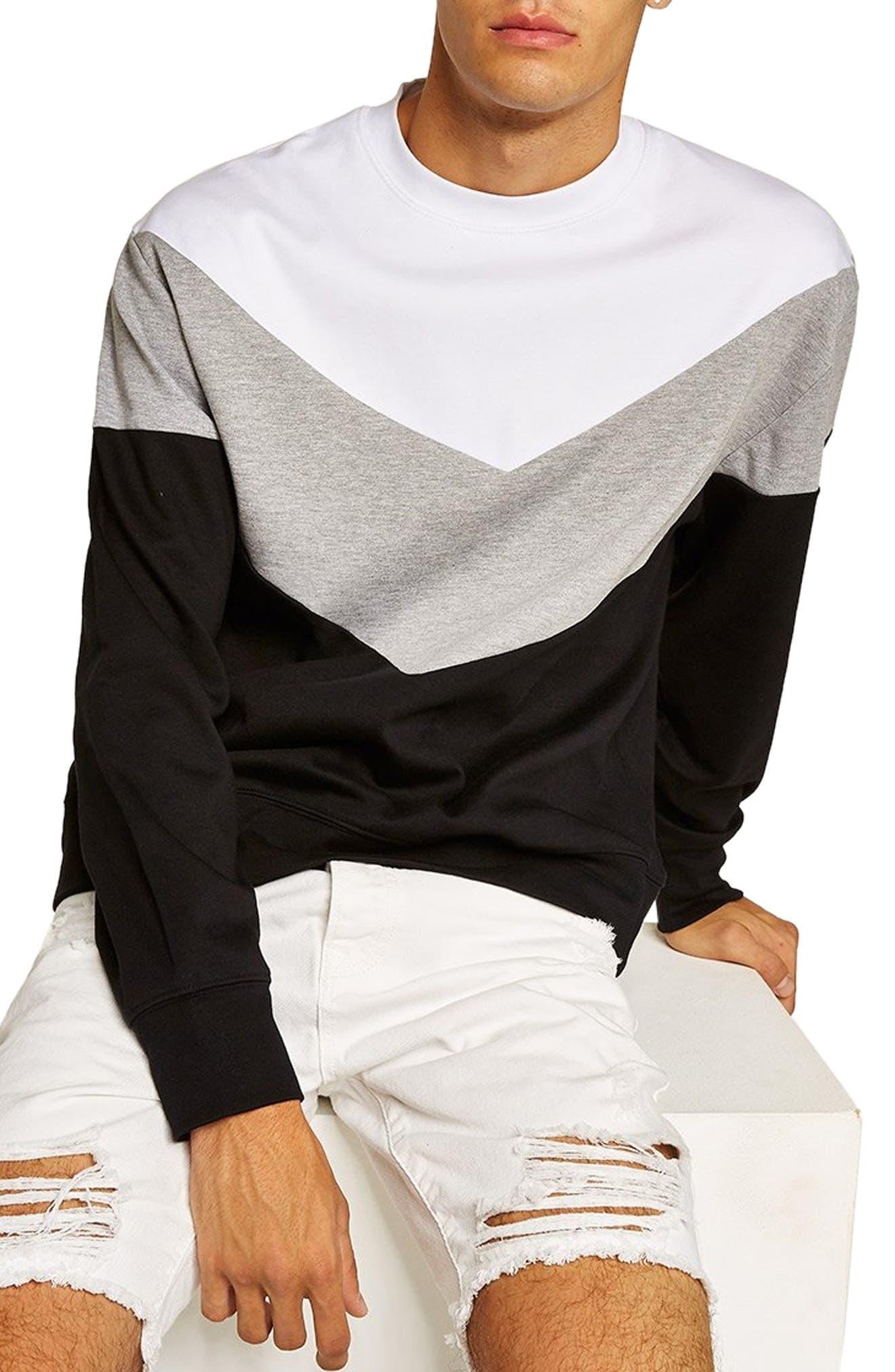 Chevron Colorblock Sweatshirt,                         Main,                         color, BLACK MULTI