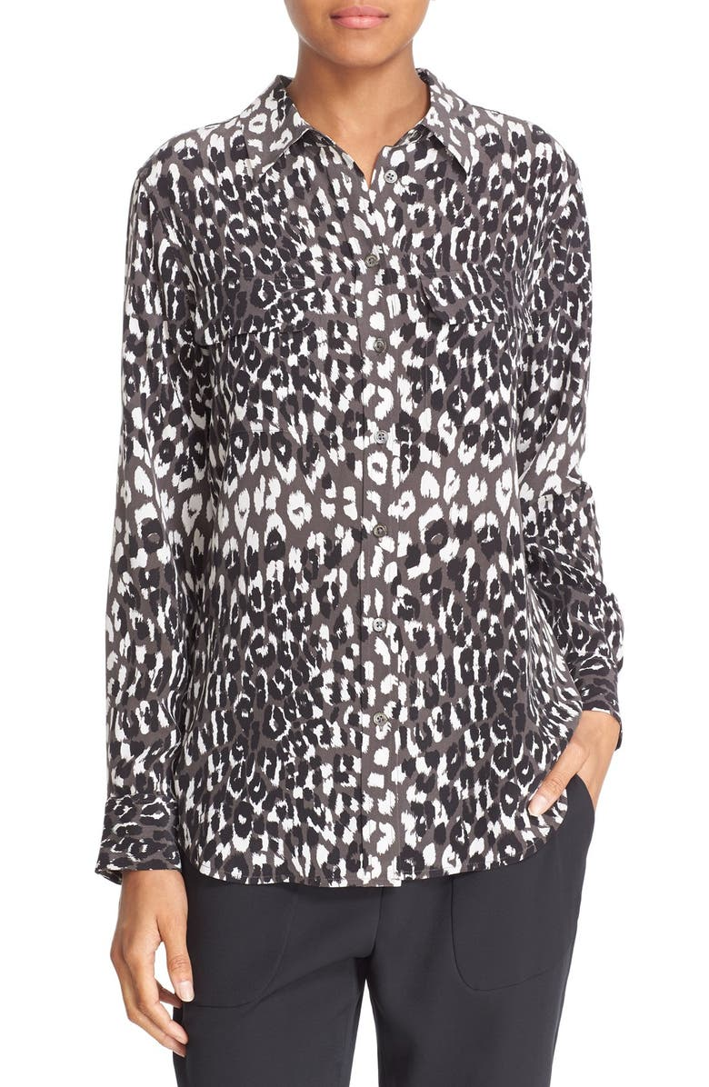 b1955705b2 Equipment Slim Signature Cheetah Print Silk Shirt