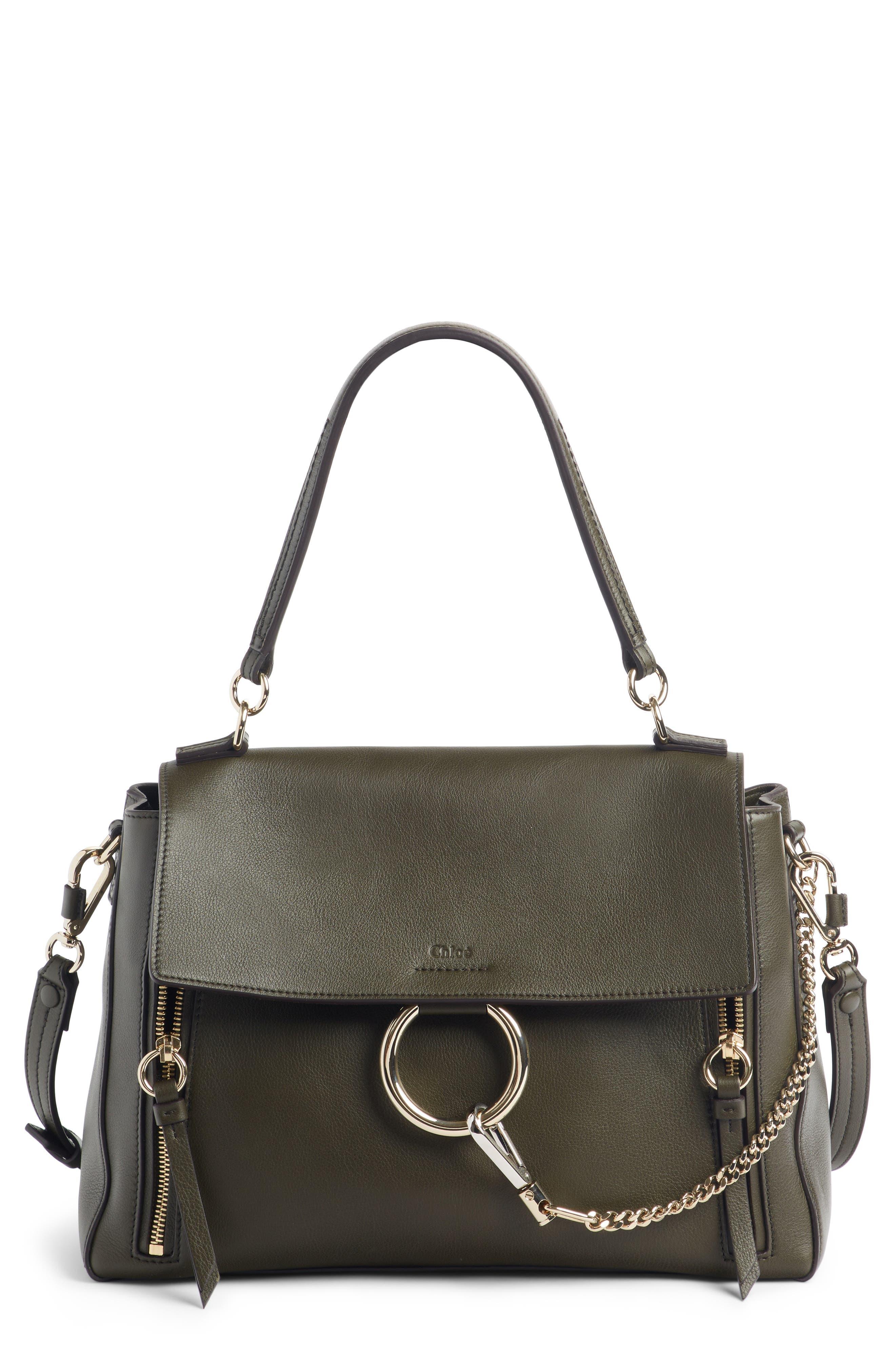 Medium Faye Leather Shoulder Bag,                         Main,                         color, DEEP FOREST