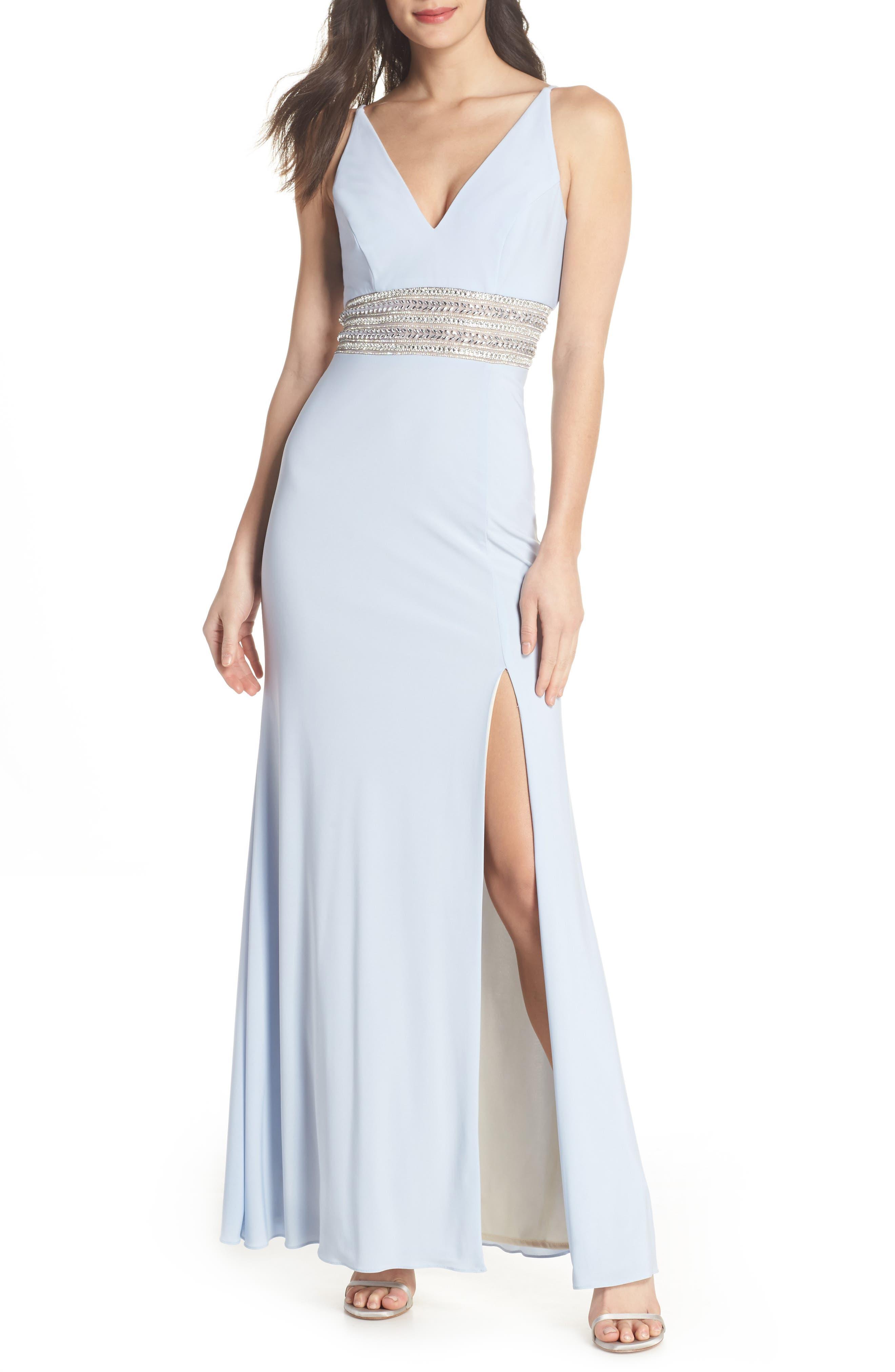 Beaded Waist Gown,                         Main,                         color, 450