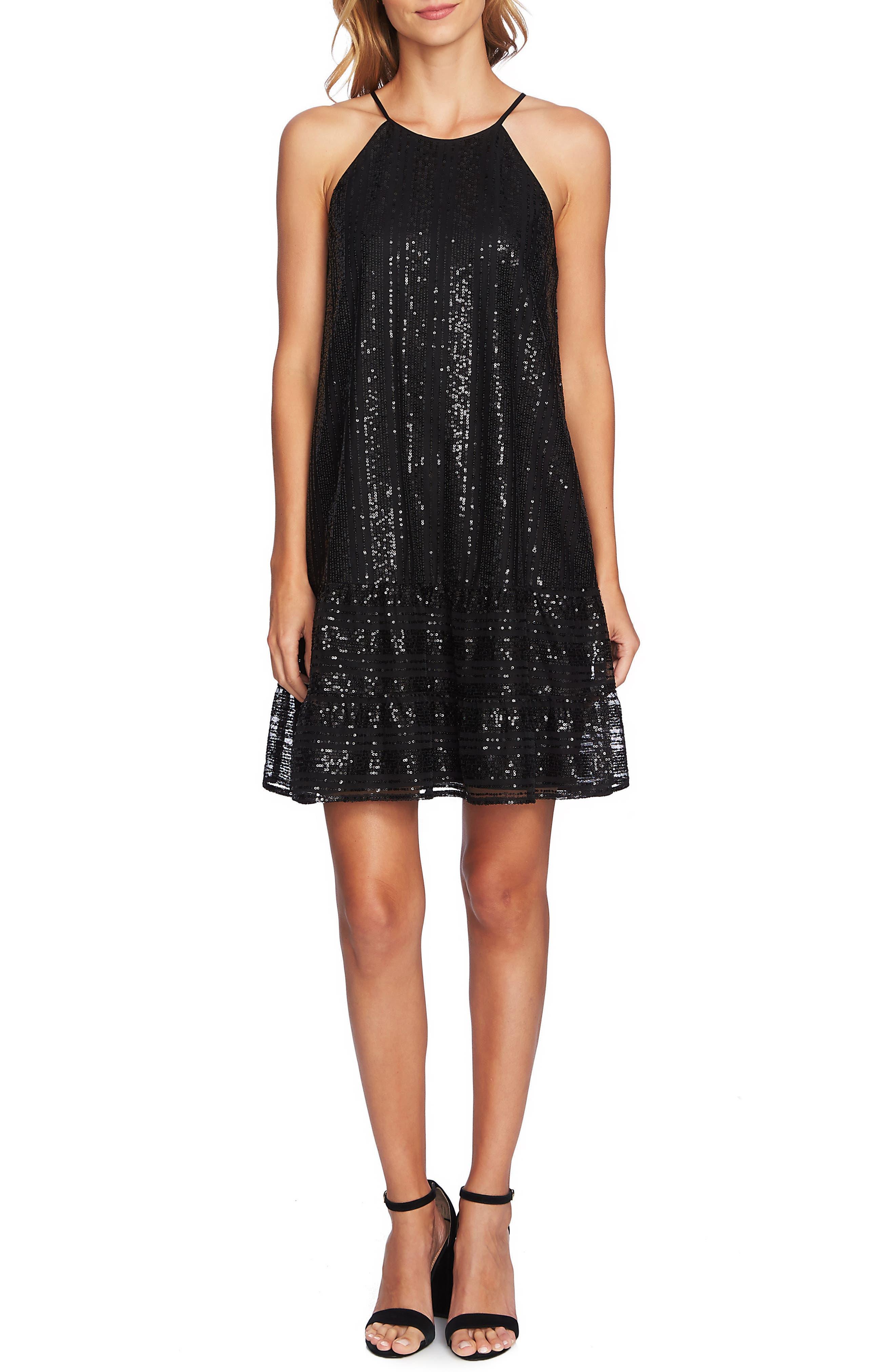 Sequin Ruffle Trim Dress,                         Main,                         color, RICH BLACK