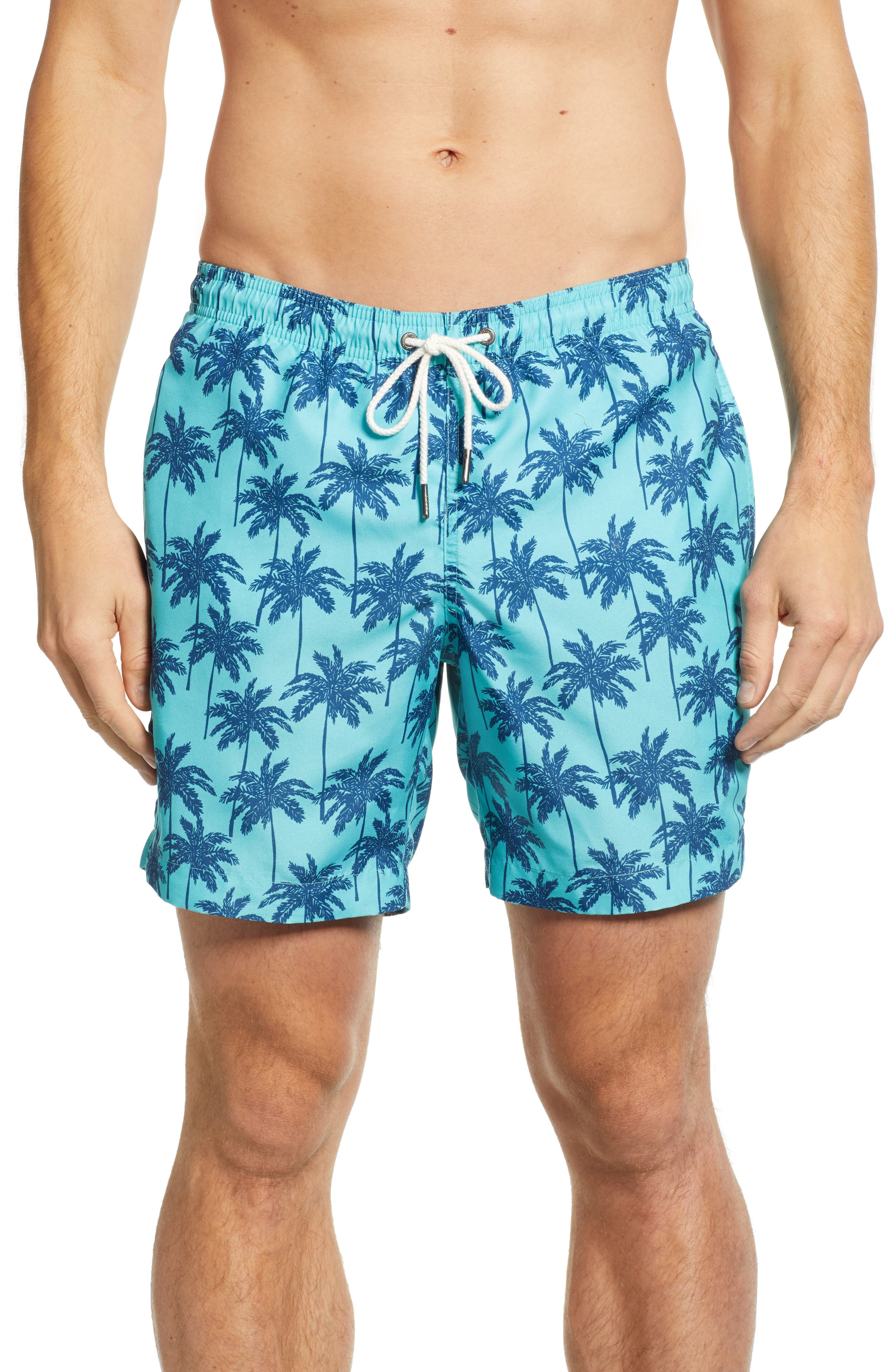 Cabo Palm Trees 6.5 Inch Swim Trunks,                             Main thumbnail 1, color,                             443