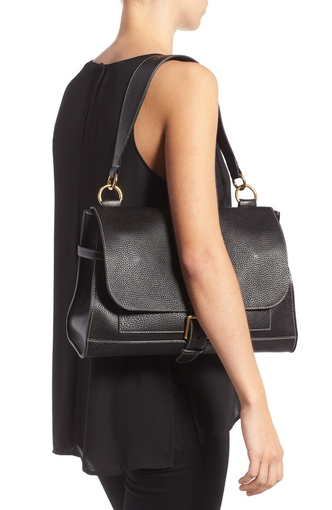 'Small Buckle' Leather Shoulder Bag,                             Alternate thumbnail 2, color,                             001