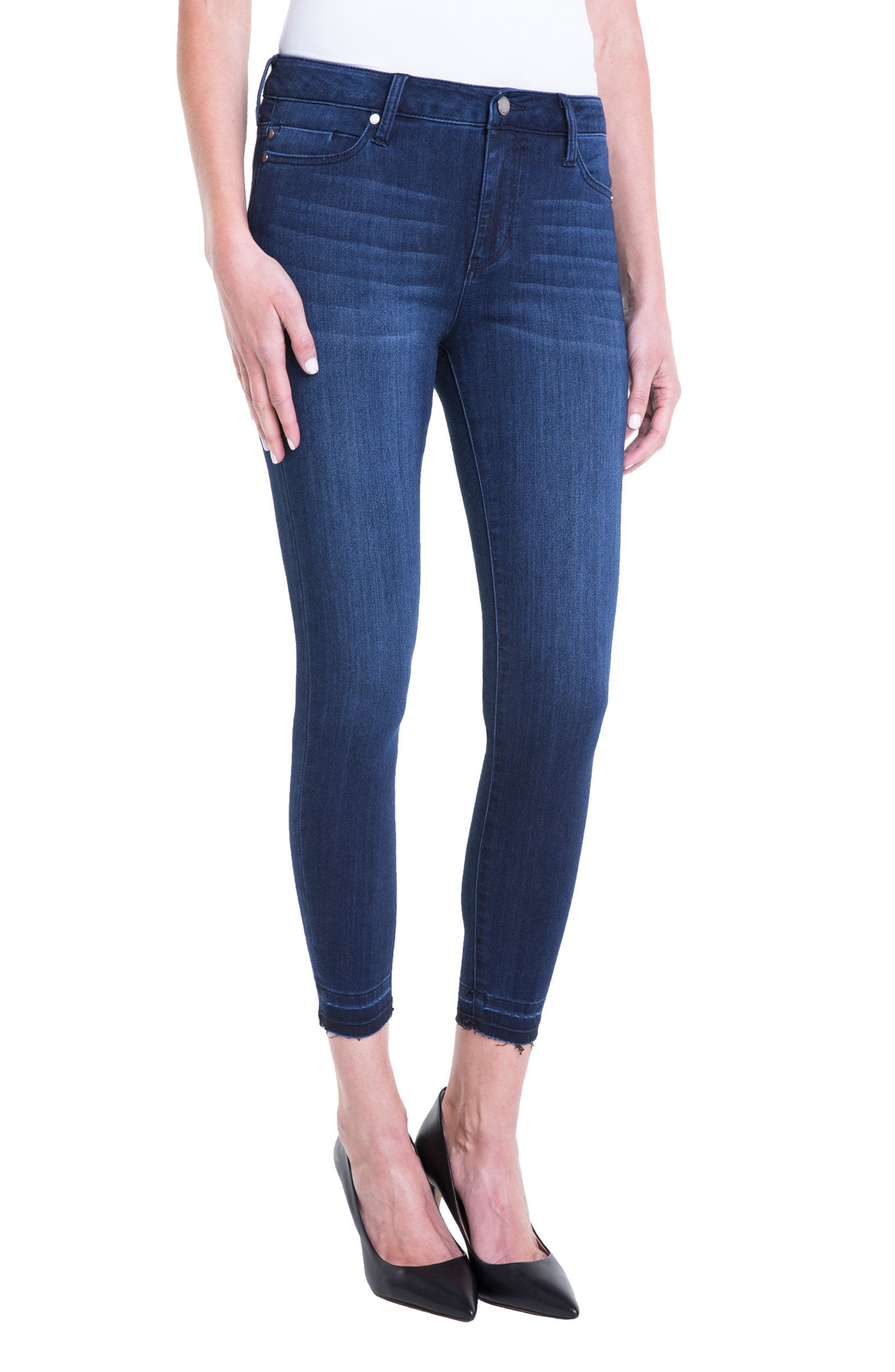Avery High Rise Release Hem Stretch Crop Skinny Jeans,                             Alternate thumbnail 3, color,                             404