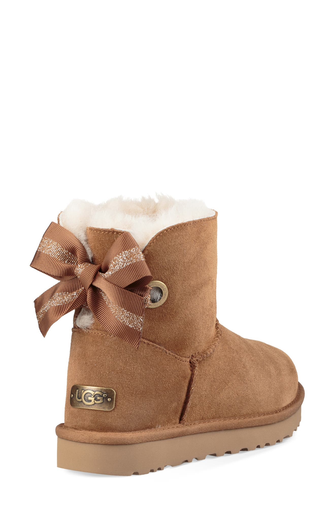 Customizable Bailey Bow Mini Genuine Shearling Bootie,                             Alternate thumbnail 2, color,                             CHESTNUT SUEDE