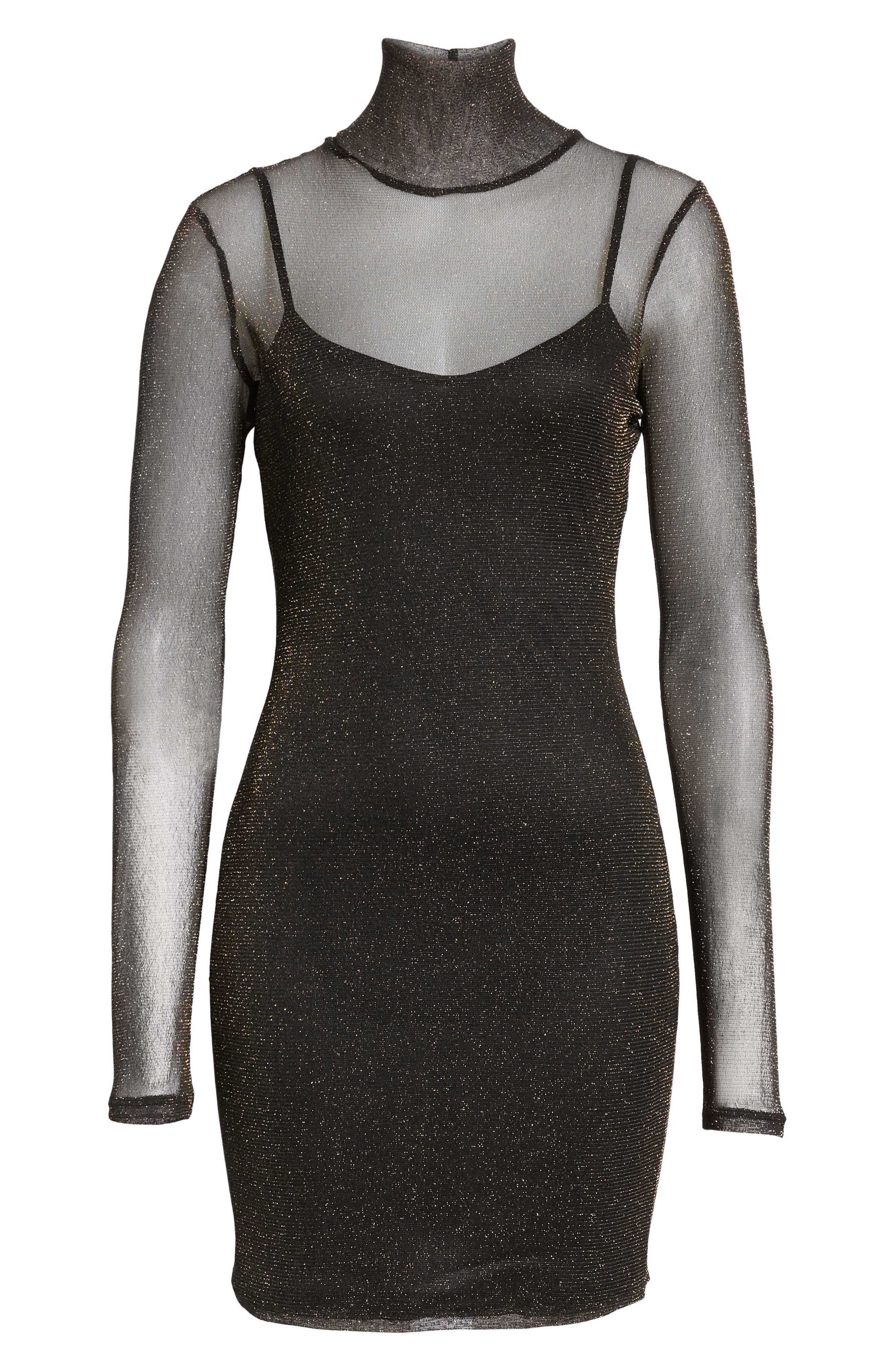 Metallic Mesh Body-Con Dress,                             Alternate thumbnail 6, color,                             710