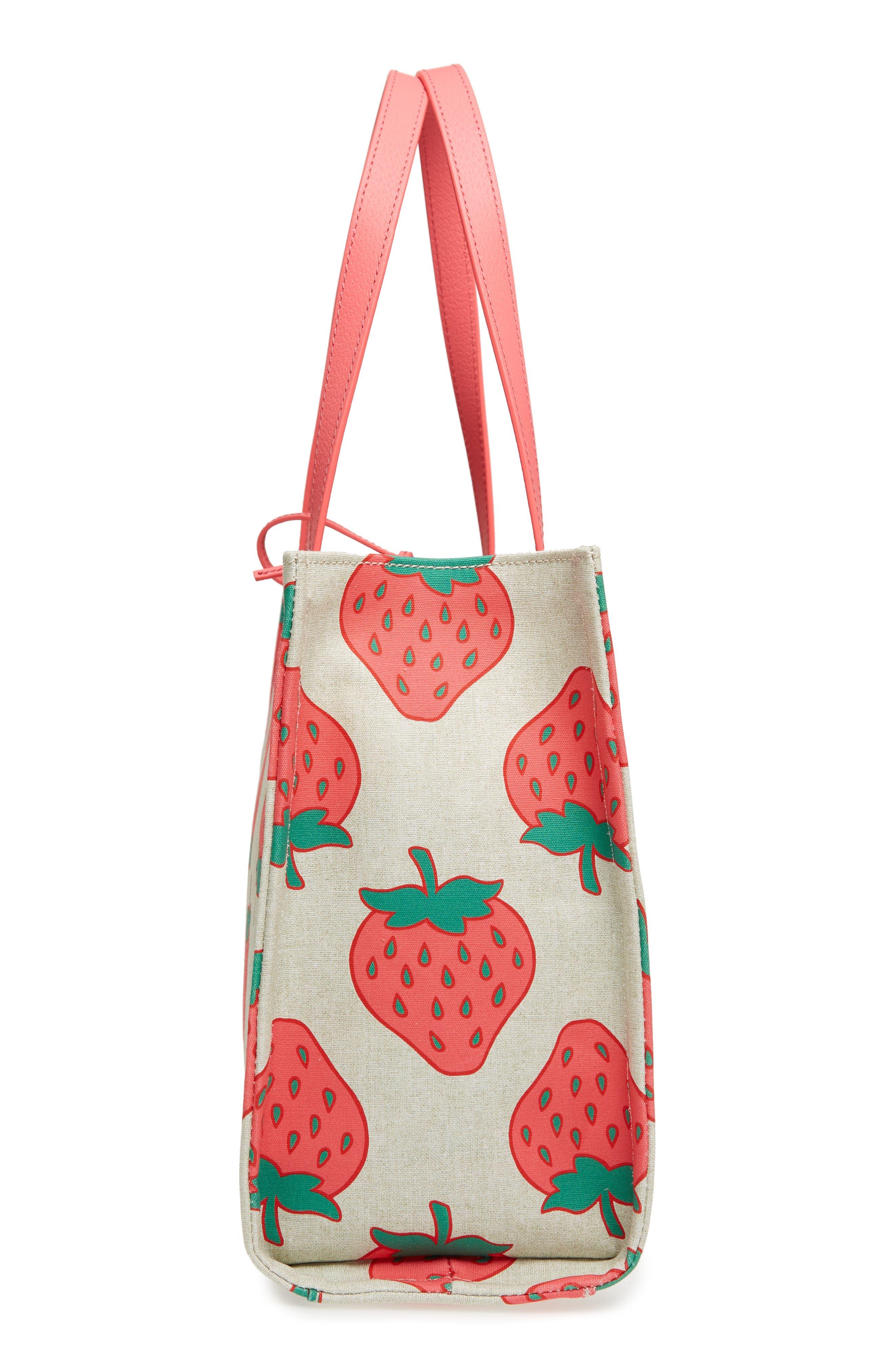 picnic perfect strawberry canvas mega sam canvas tote,                             Alternate thumbnail 5, color,                             650