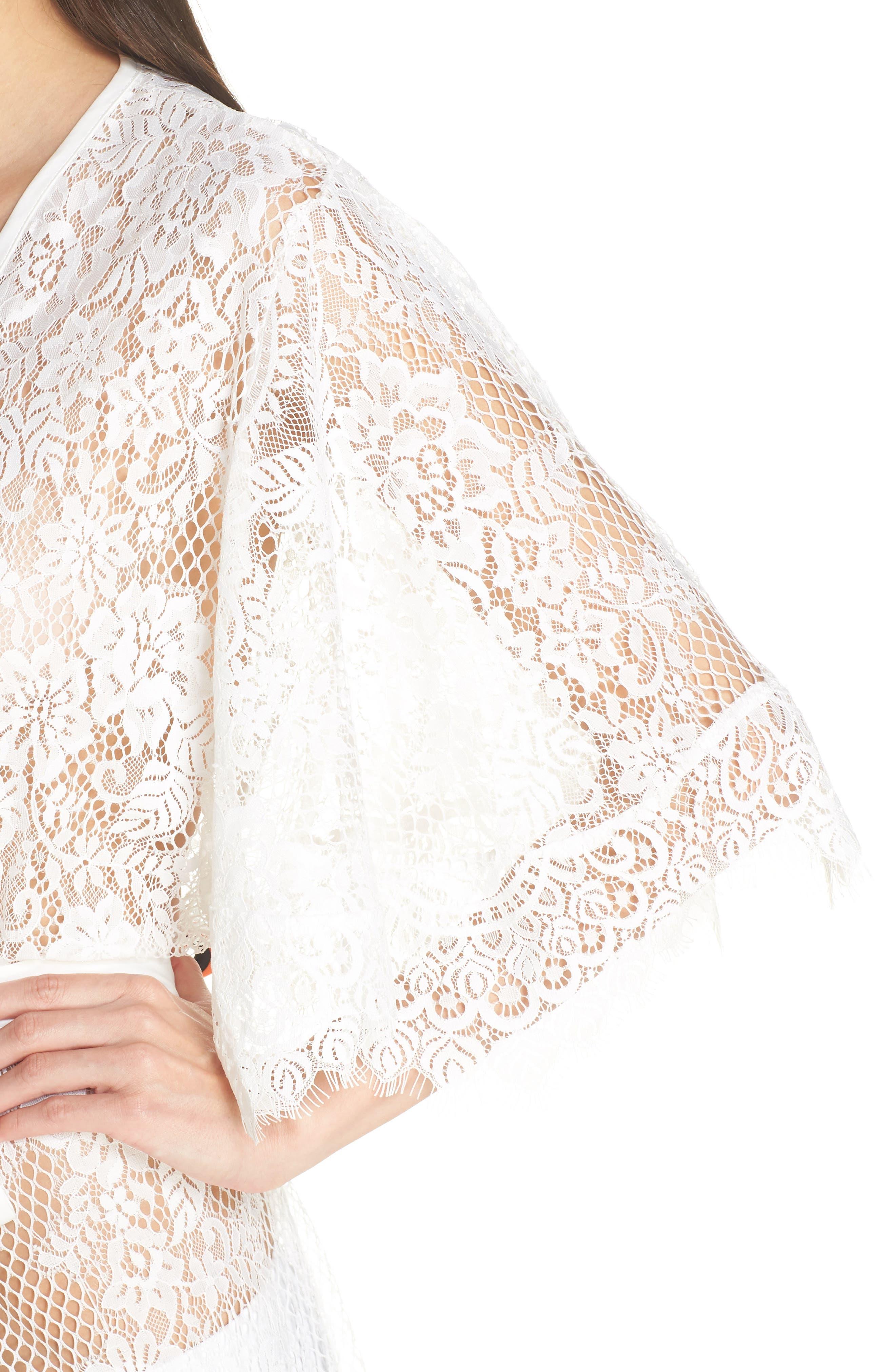 Leah Lace Wrap,                             Alternate thumbnail 4, color,                             WHITE