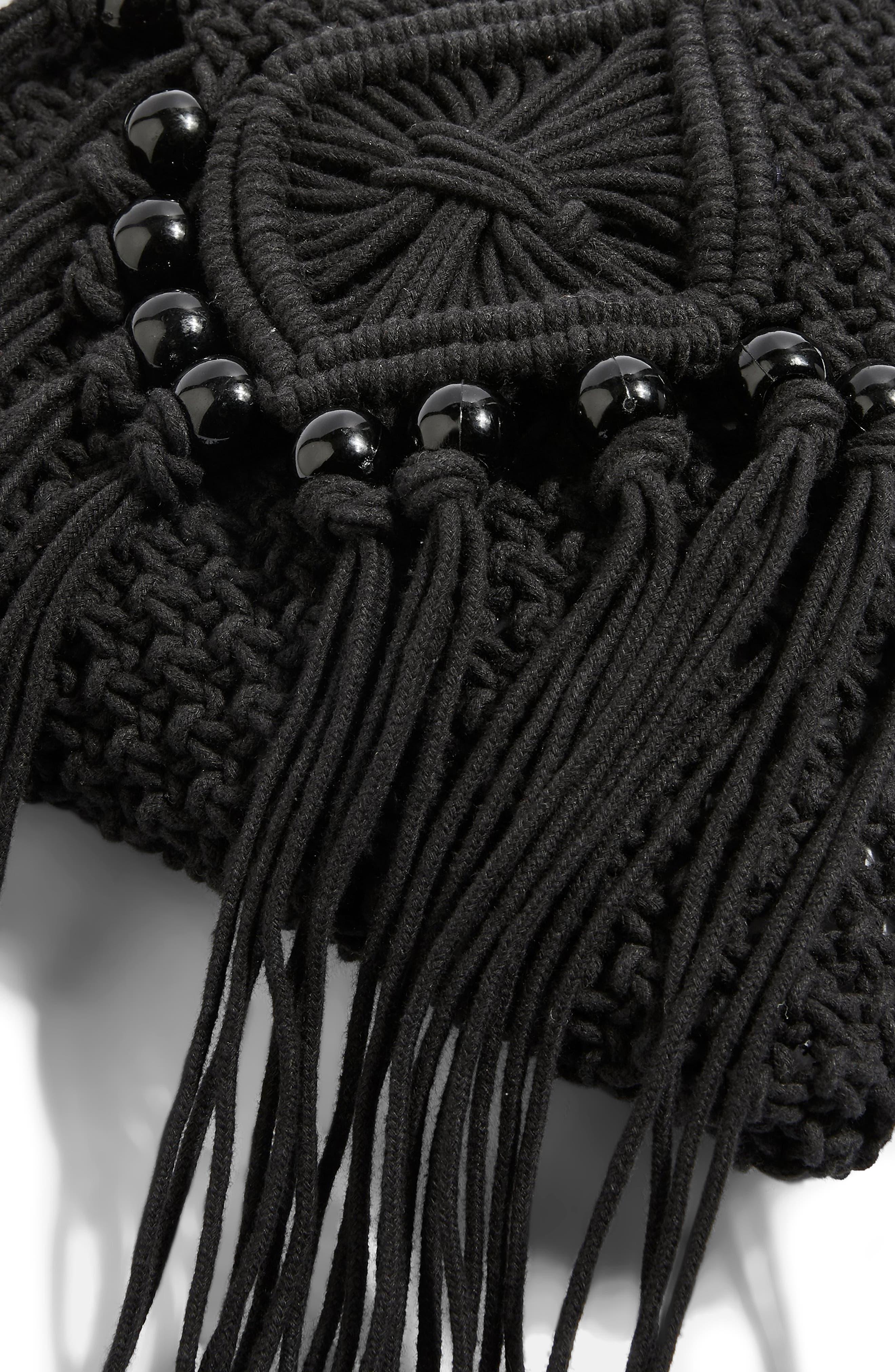 Macrame Crossbody Bag,                             Alternate thumbnail 3, color,                             BLACK