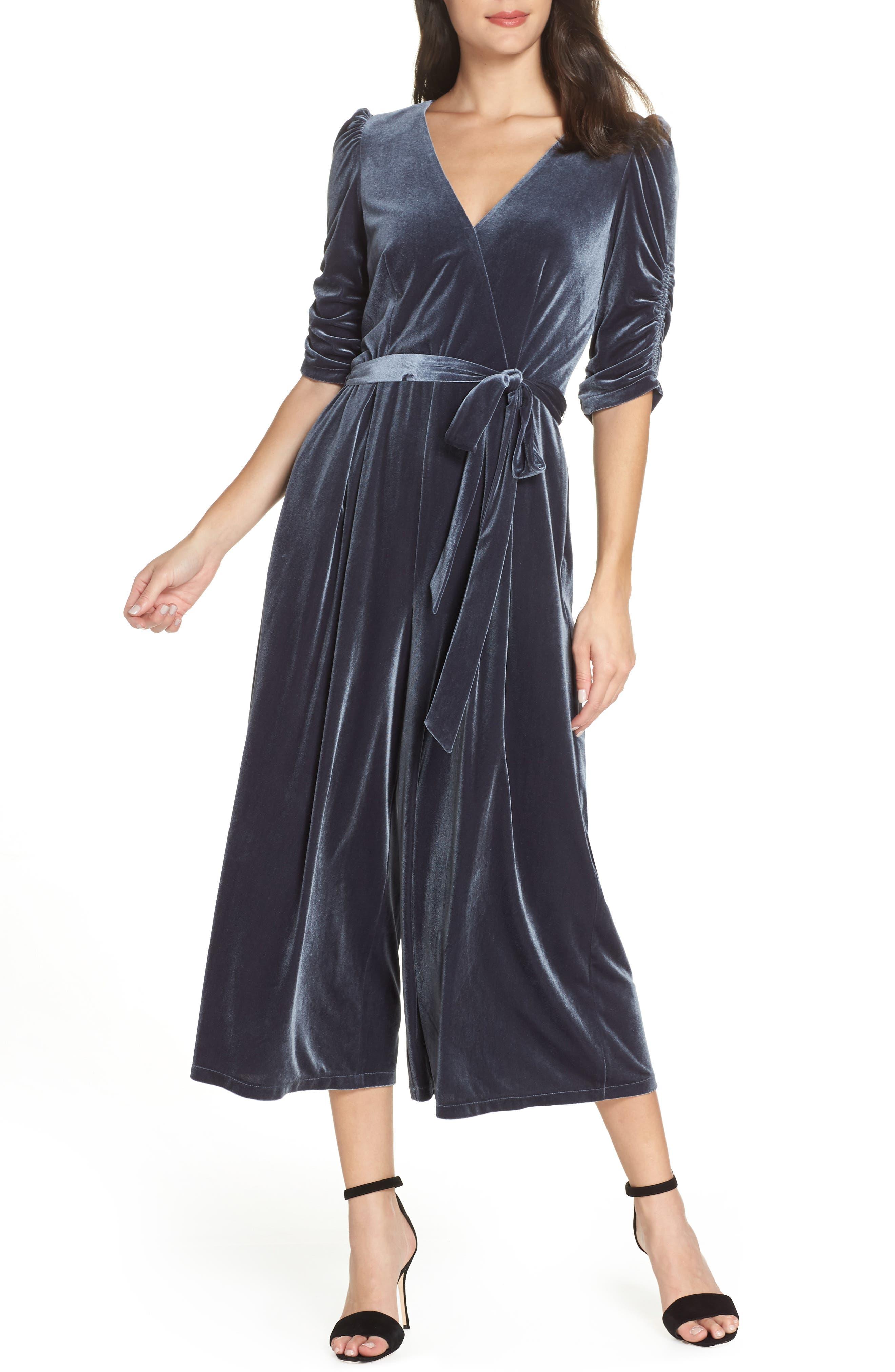 Velvet Culotte Jumpsuit,                             Main thumbnail 1, color,                             GREY PHANTOM