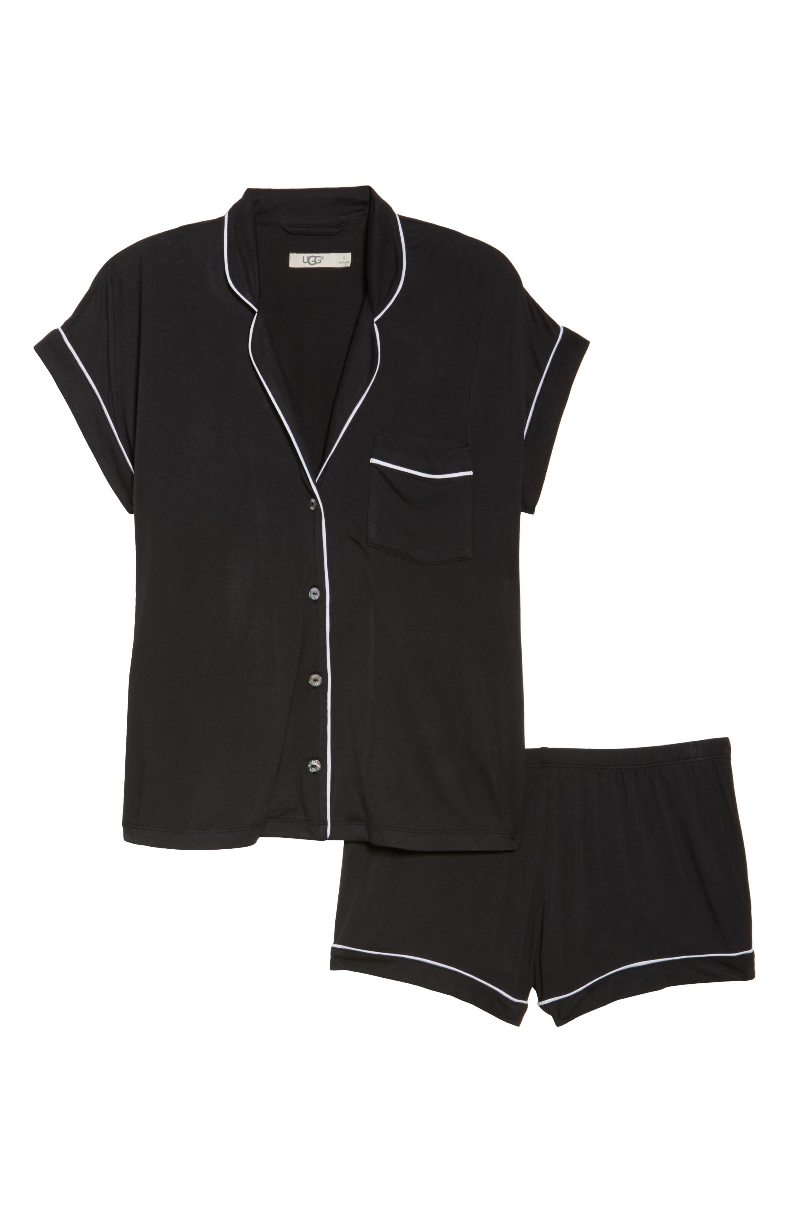 Amelia Short Pajamas,                             Alternate thumbnail 6, color,                             BLACK