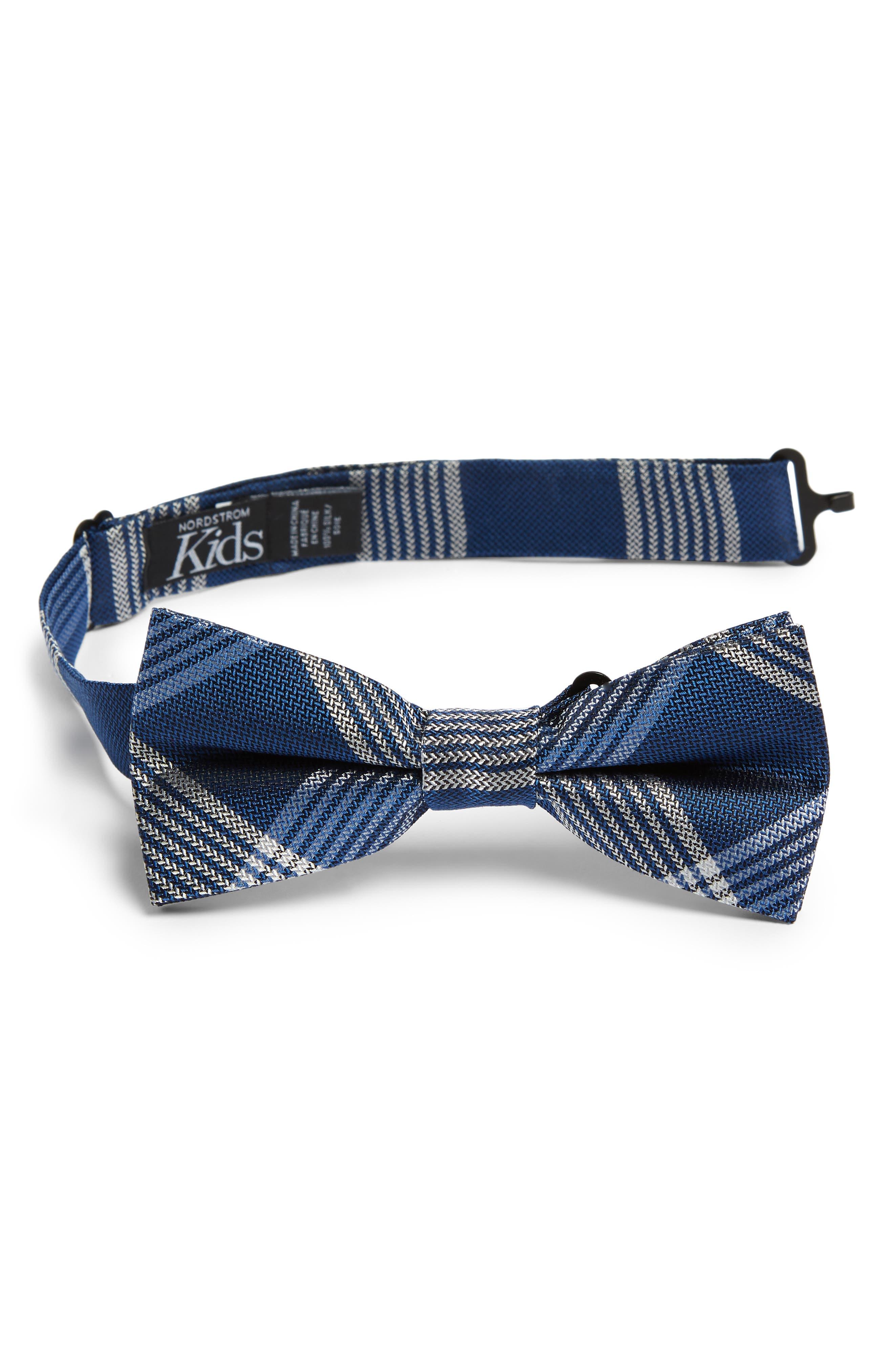 Plaid Silk Bow Tie, Main, color, 400