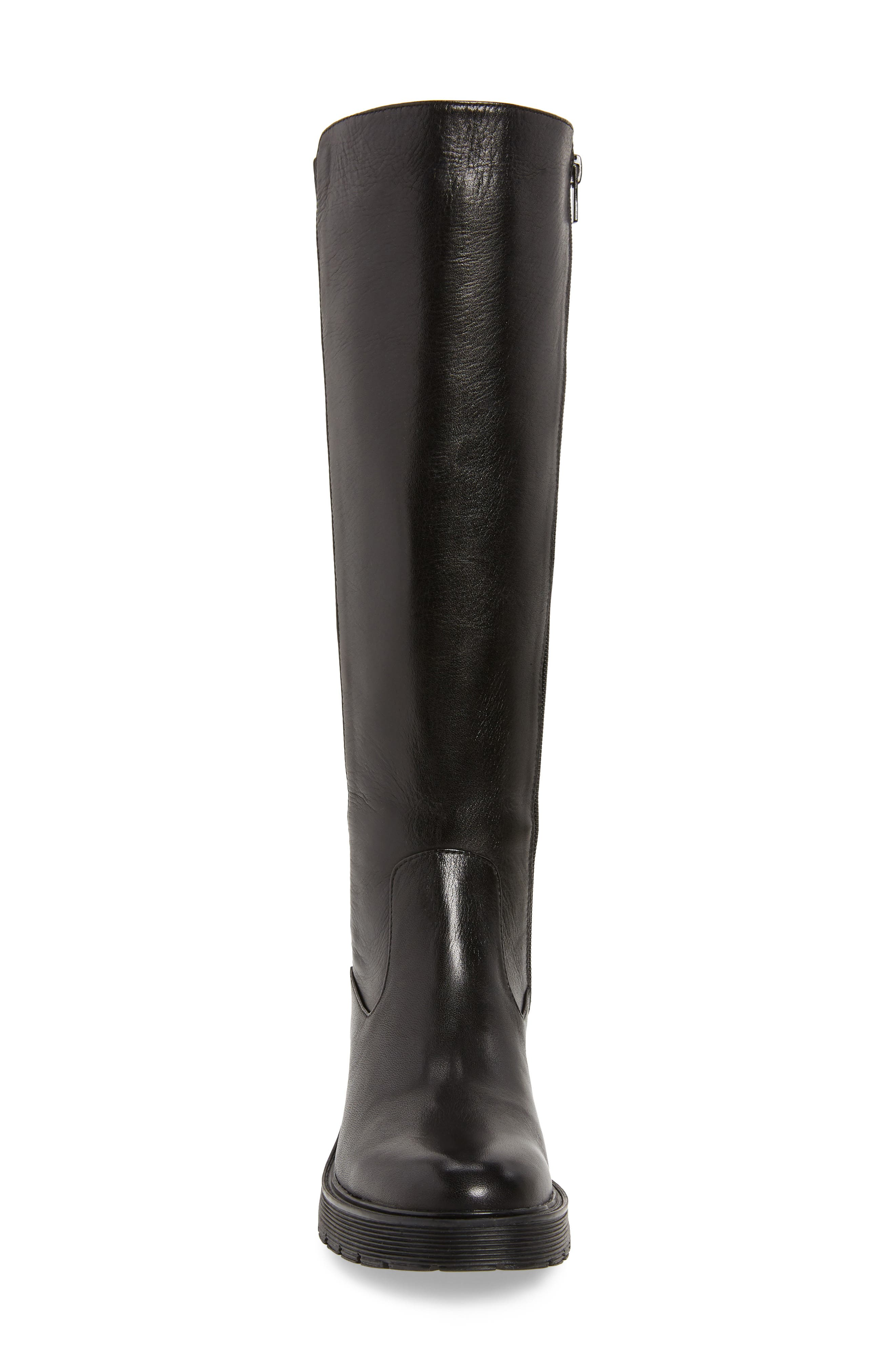 CALVIN KLEIN,                             Themis Knee High Riding Boot,                             Alternate thumbnail 4, color,                             BLACK LEATHER