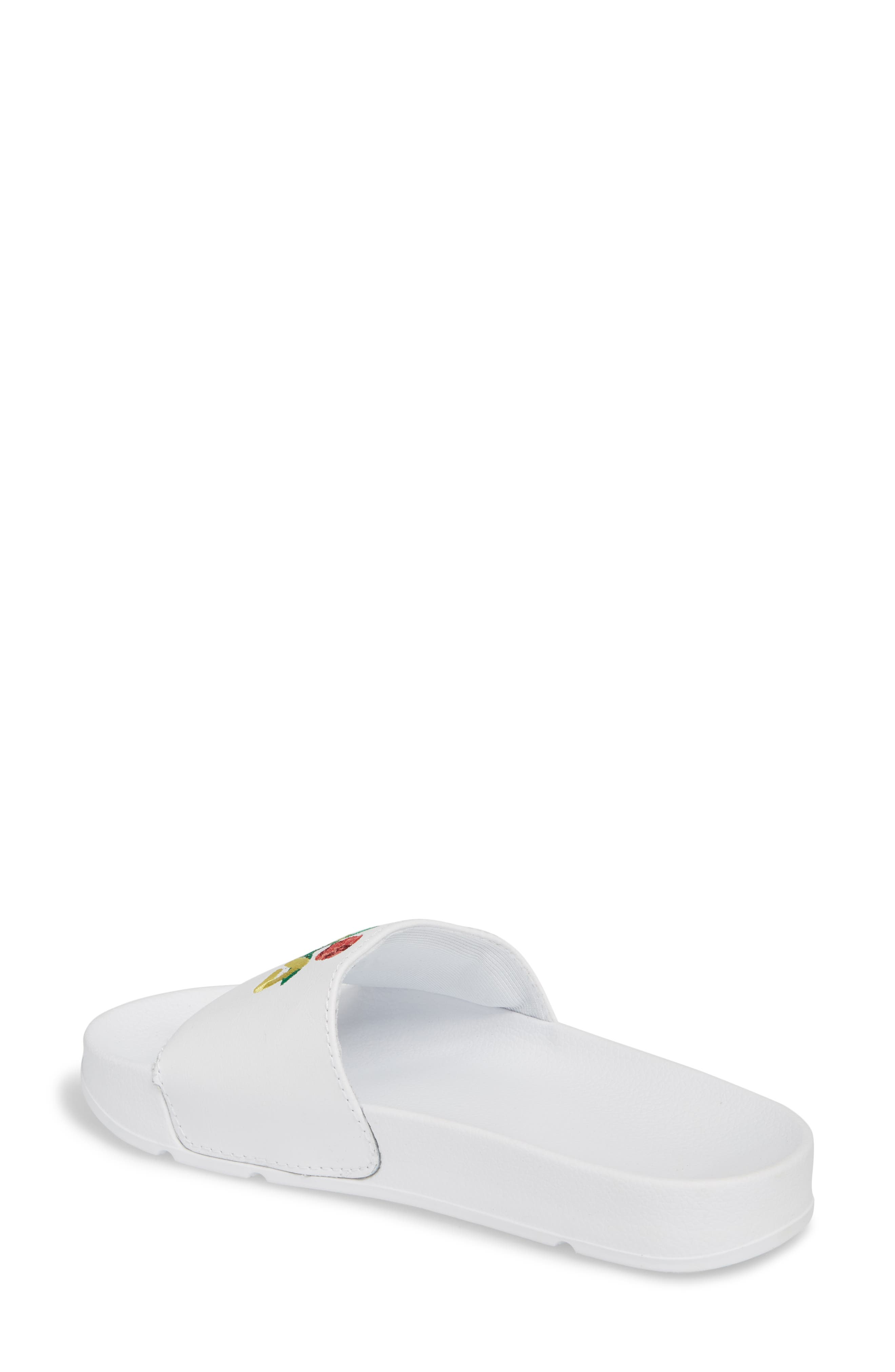 Embroidered Slide Sandal,                             Alternate thumbnail 2, color,                             WHT/ DFLO/ JYBN