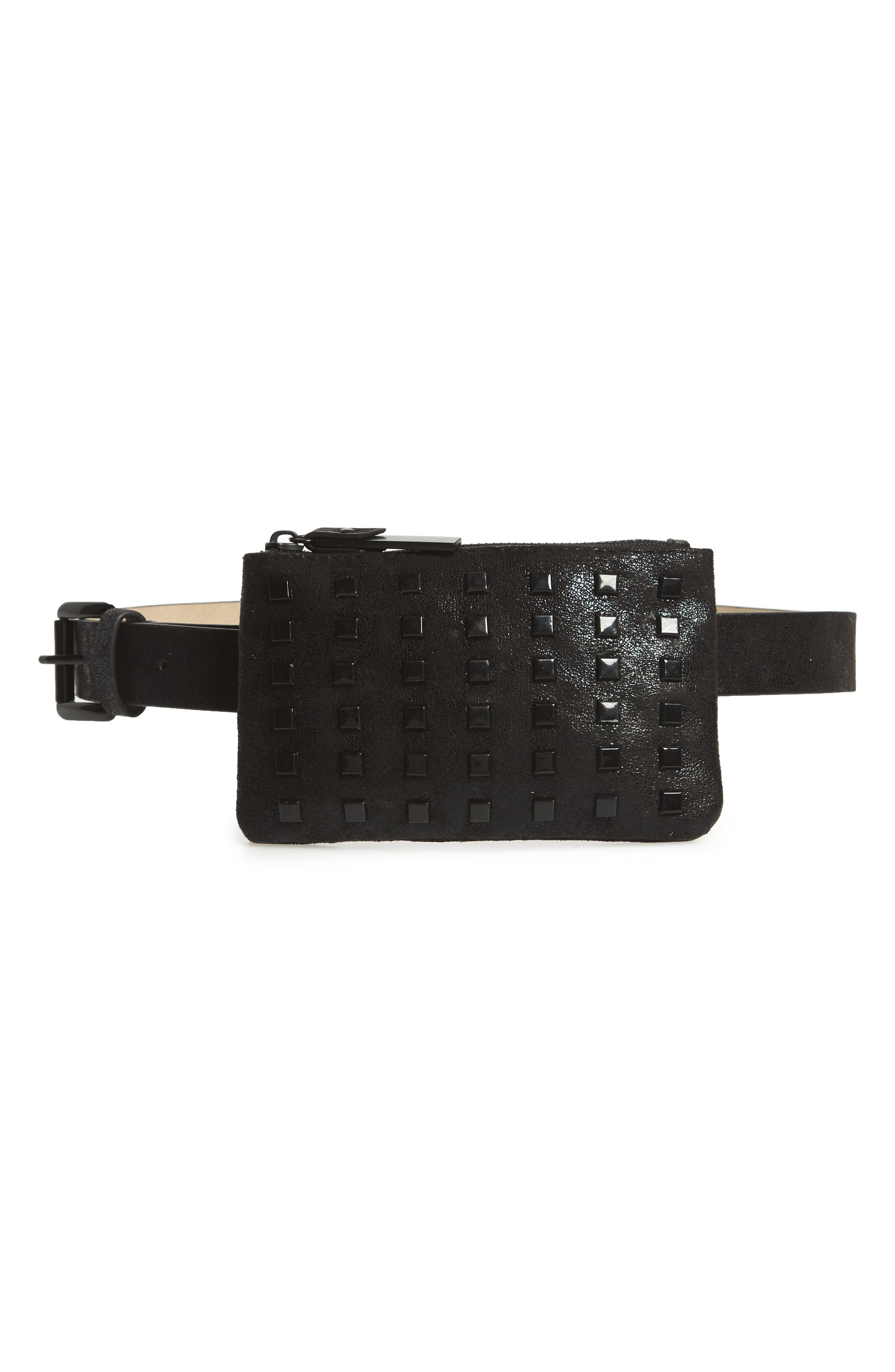 STEVE MADDEN,                             Studded Faux Leather Belt Bag,                             Main thumbnail 1, color,                             002