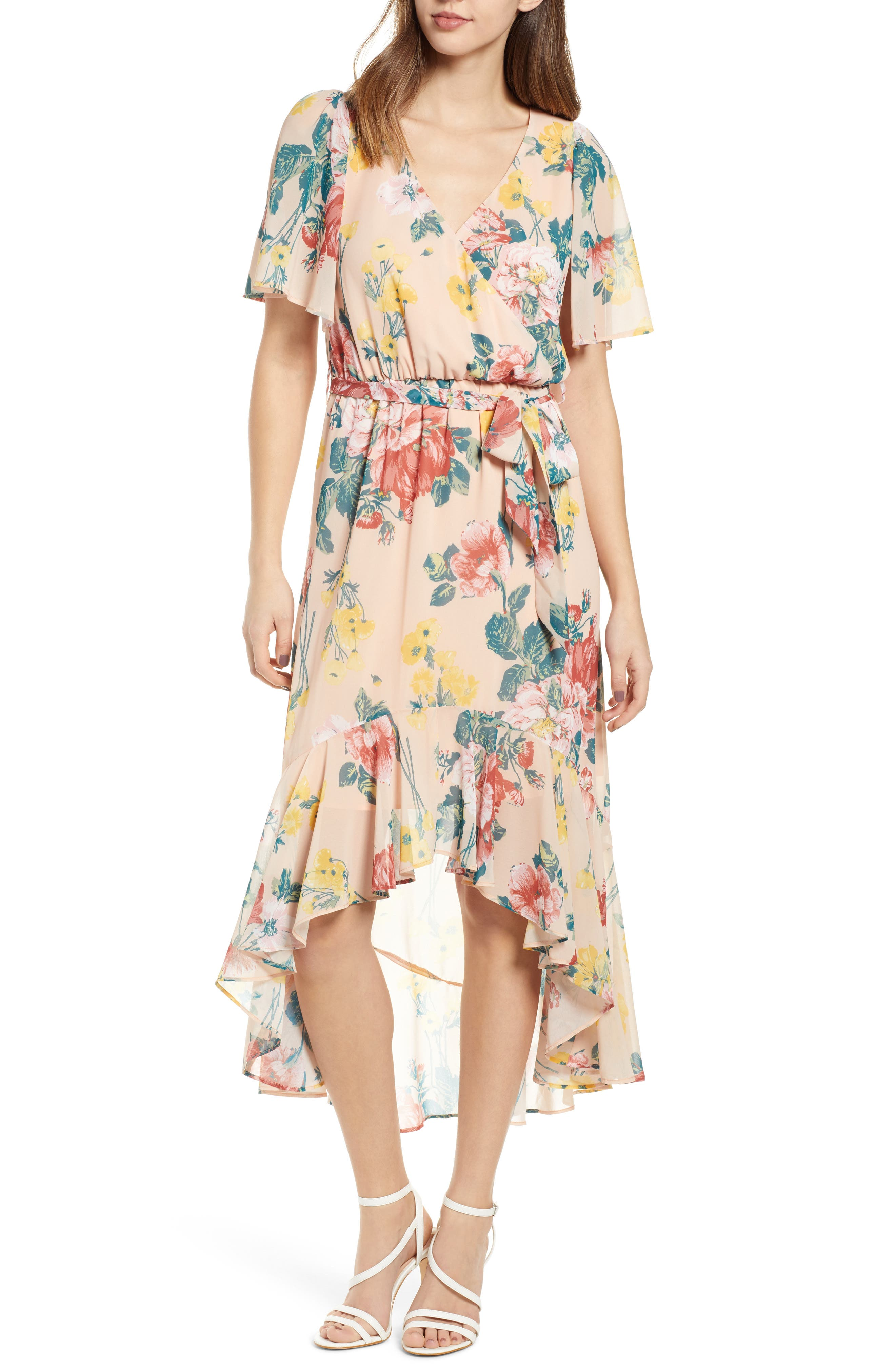 Leith Flutter Sleeve High/low Dress, Coral