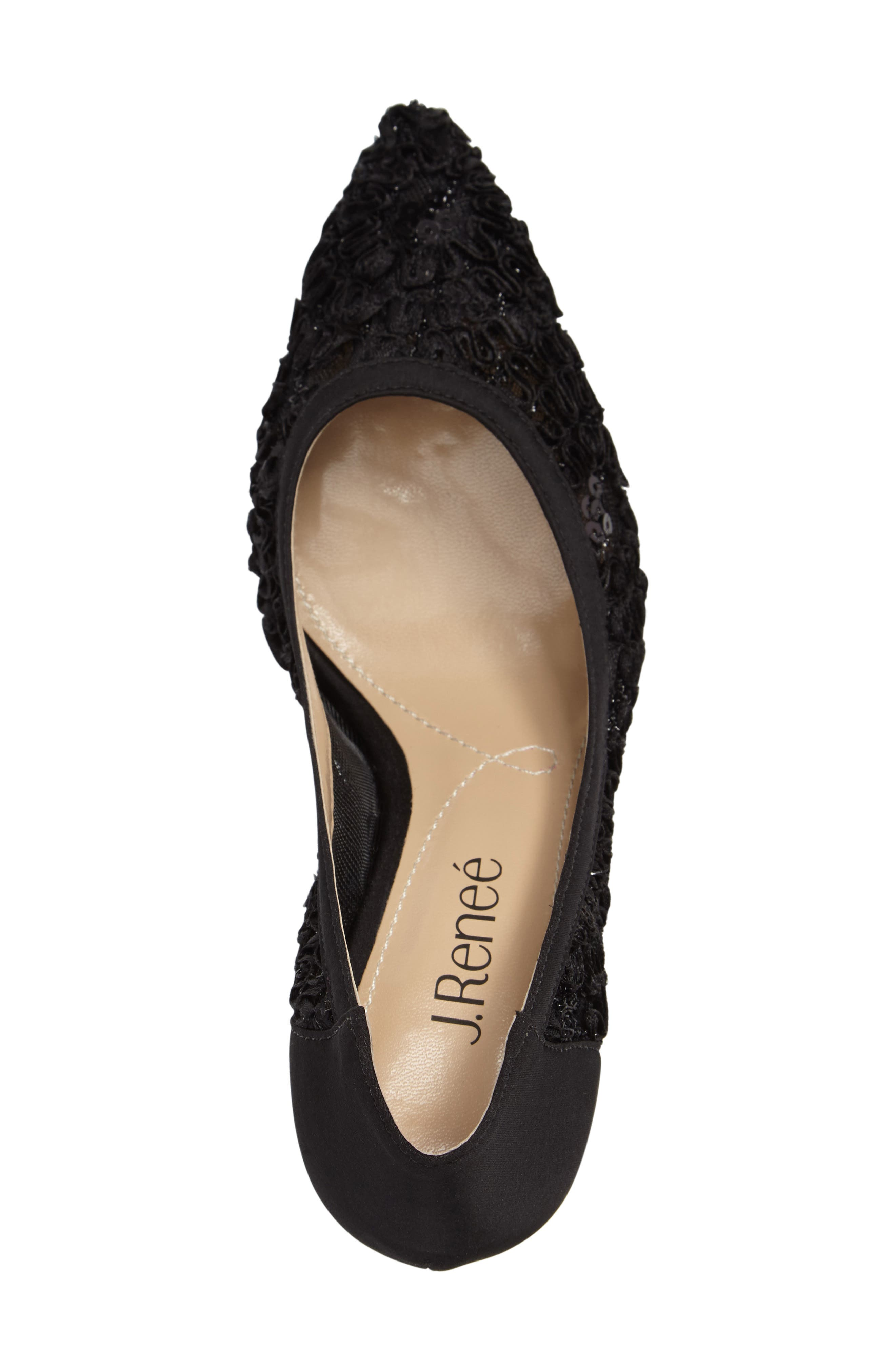 Camellia Pointy Toe Pump,                             Alternate thumbnail 3, color,                             BLACK LACE FABRIC