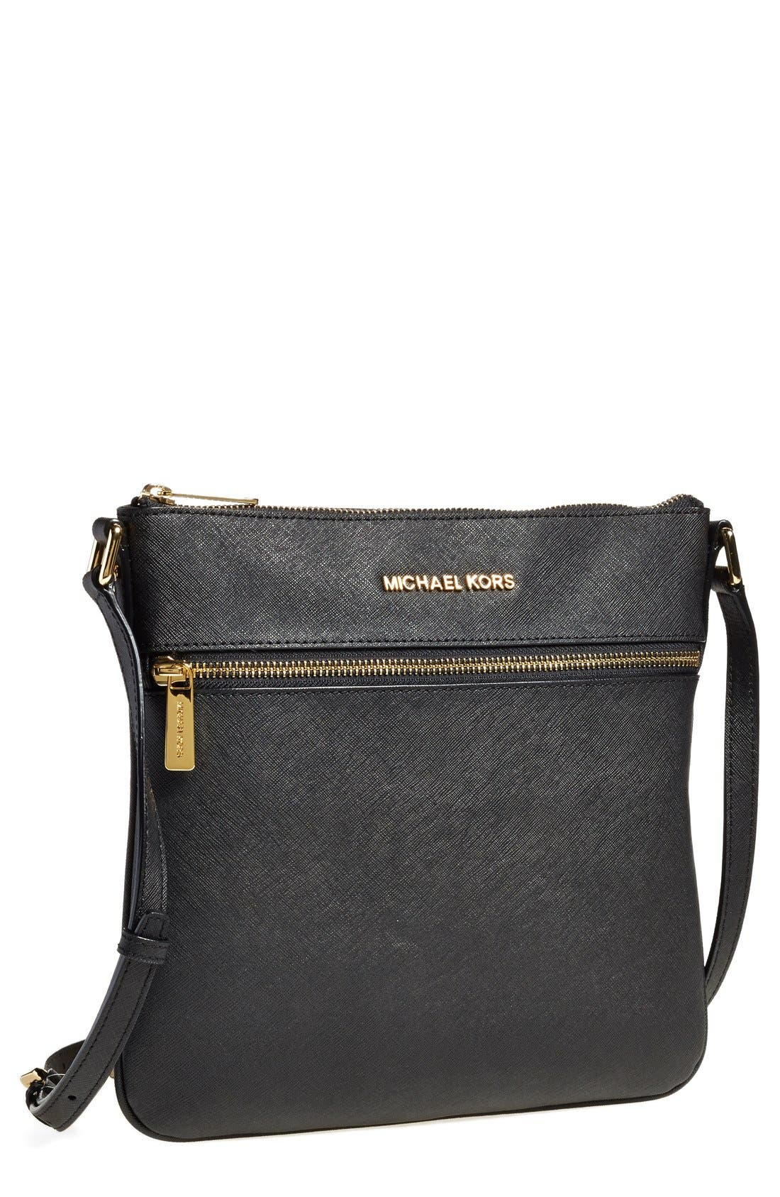 'Bedford' Saffiano Leather Crossbody Bag,                             Main thumbnail 1, color,                             001