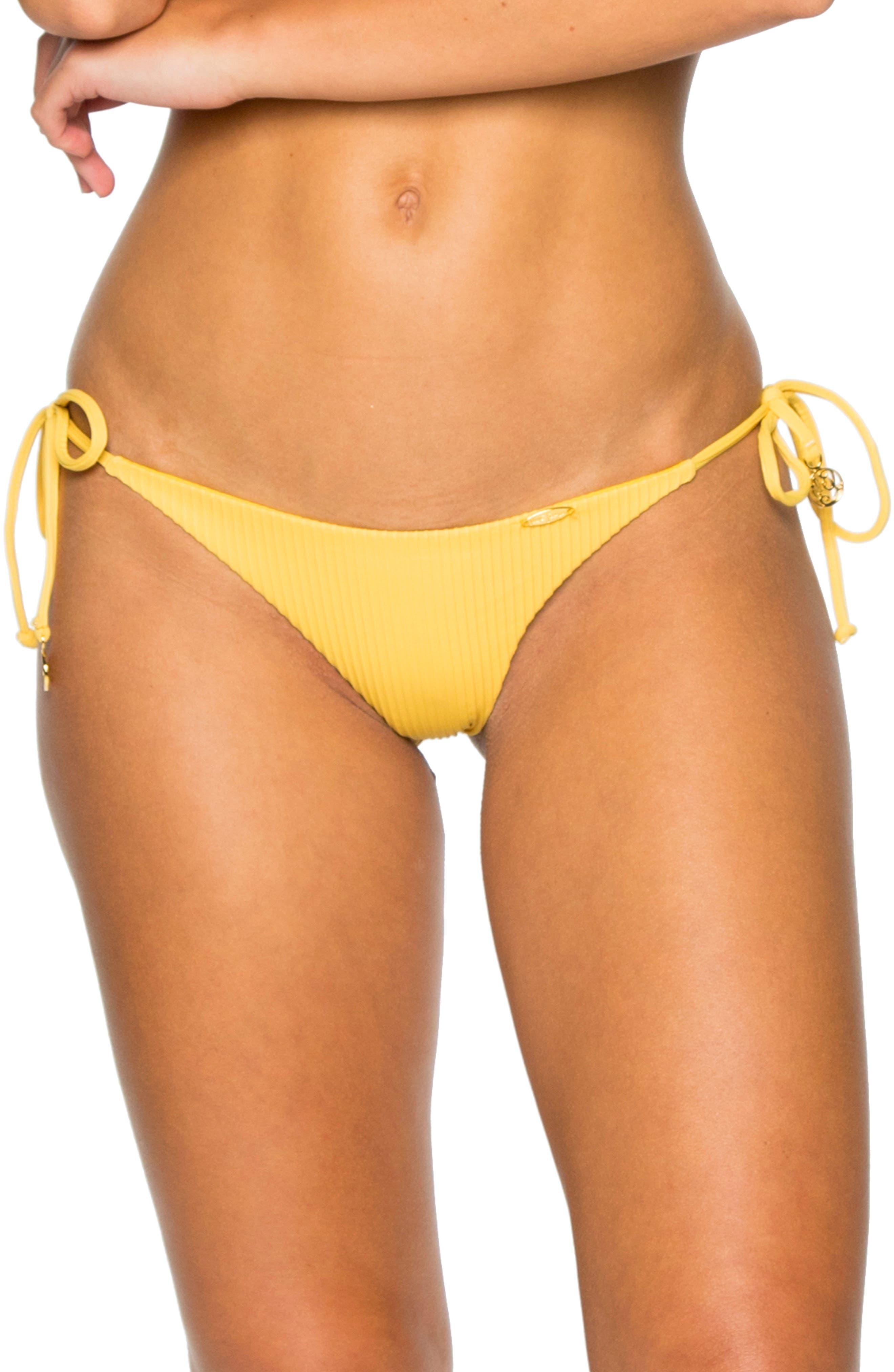 LULI FAMA Ribbed Brazilian Side Tie Bikini Bottoms in Banana