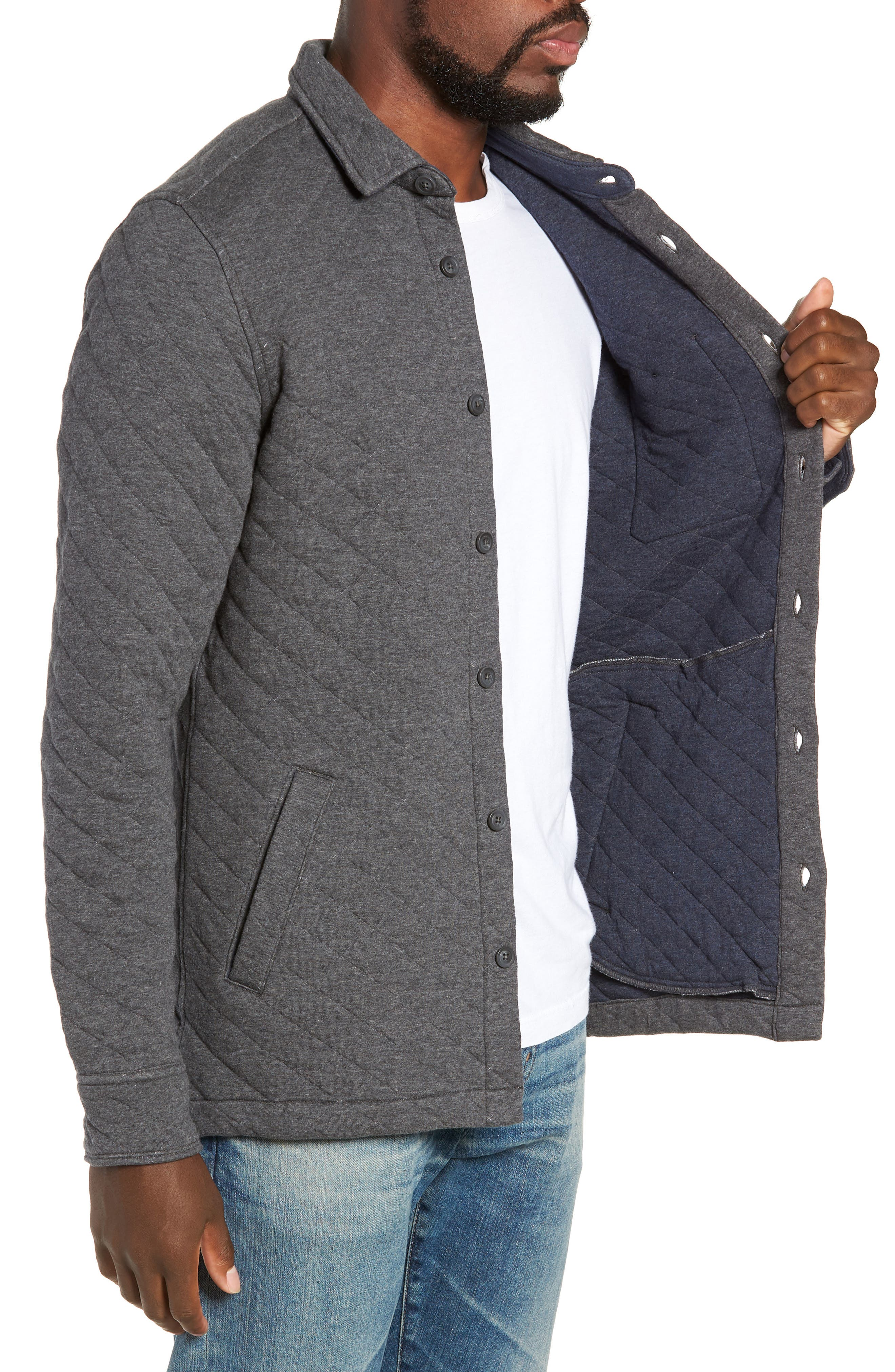 Cameron Regular Fit Quilted Shirt Jacket,                             Alternate thumbnail 3, color,                             FLINT HEATHER