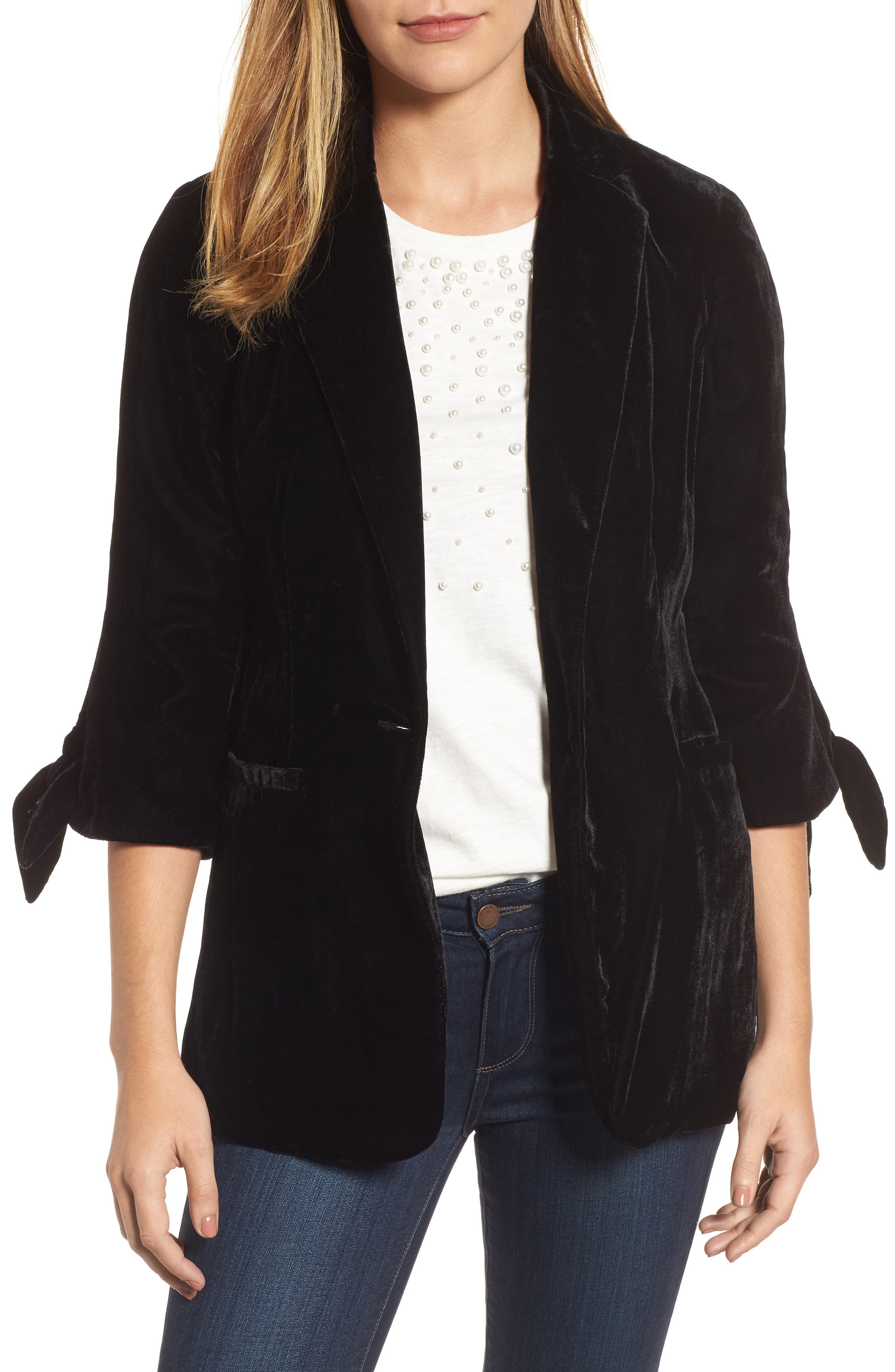 HALOGEN<SUP>®</SUP> Tie Sleeve Velvet Blazer, Main, color, 001