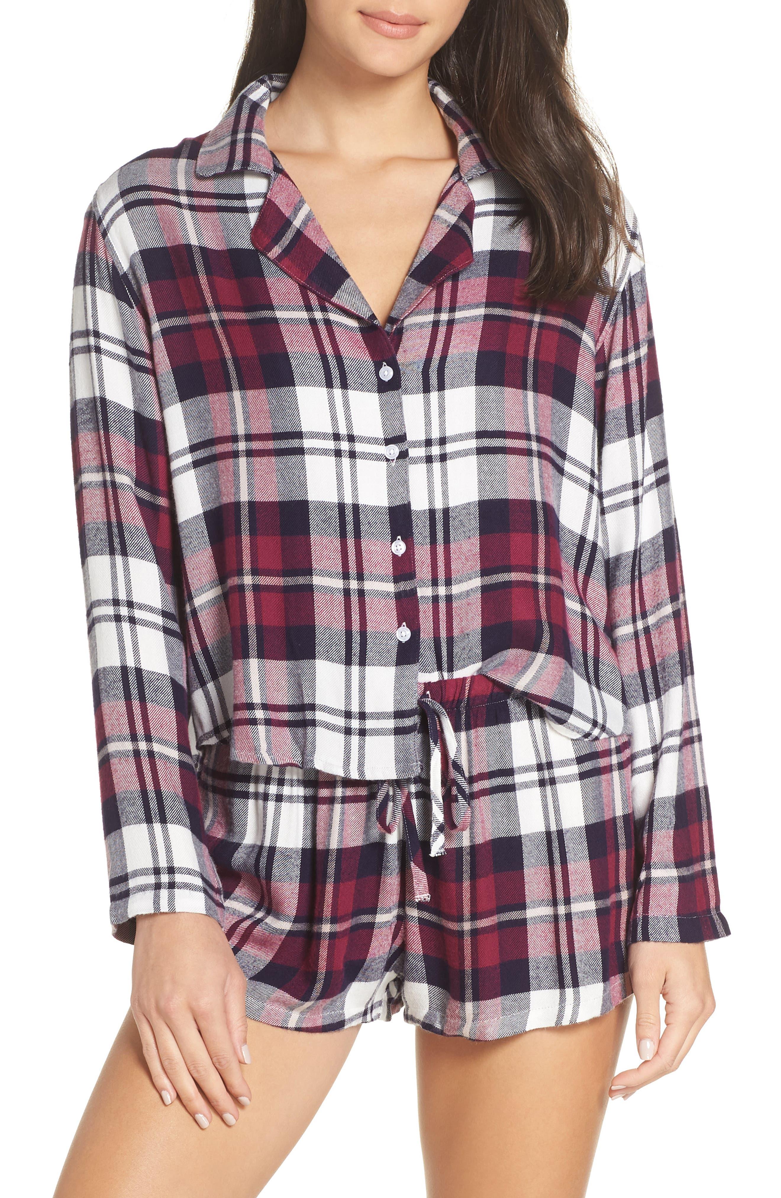 Plaid Short Pajamas,                             Main thumbnail 1, color,                             MULBERRY NAVY WHITE