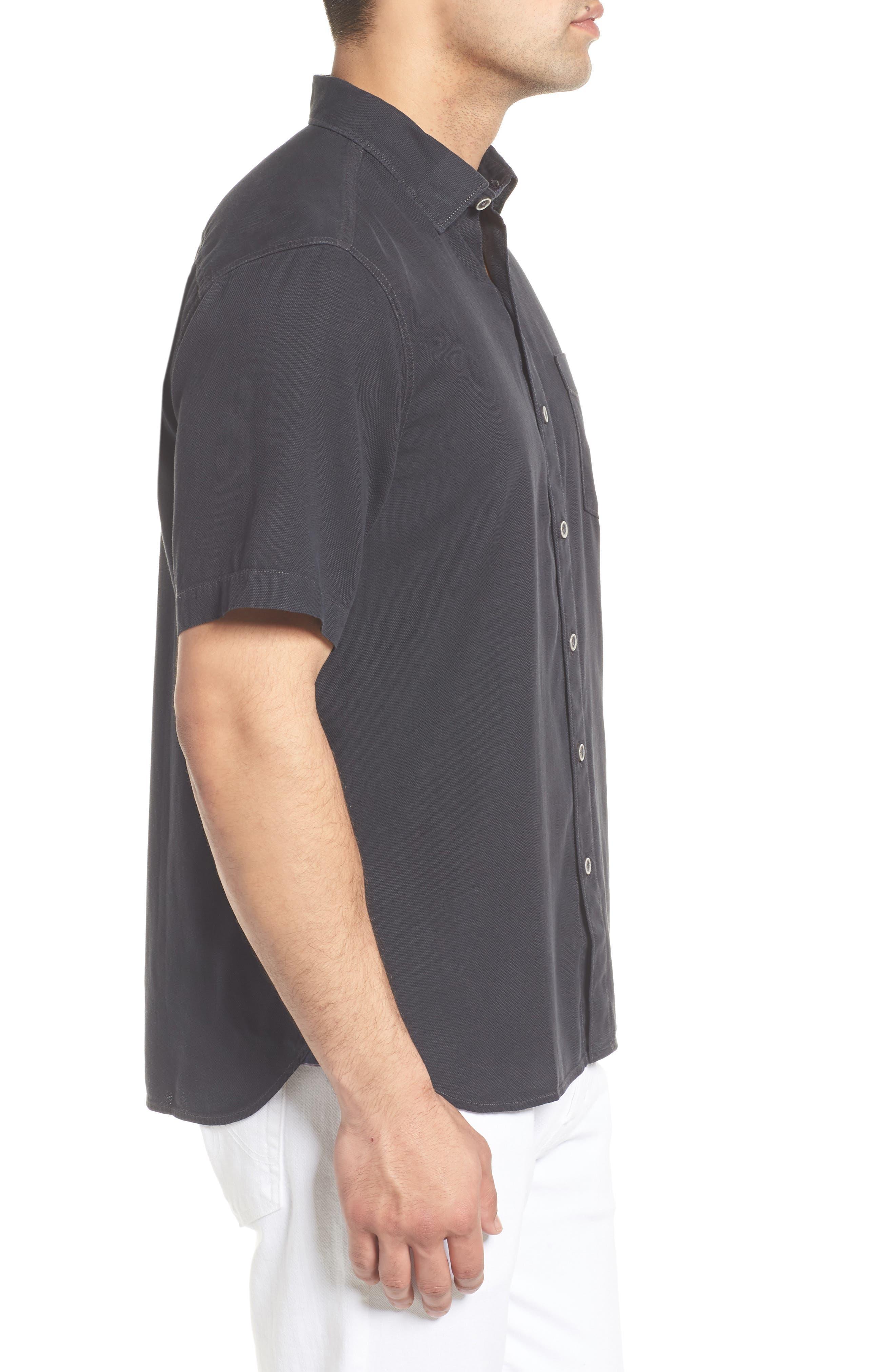Dobby Dylan Sport Shirt,                             Alternate thumbnail 3, color,                             BLACK